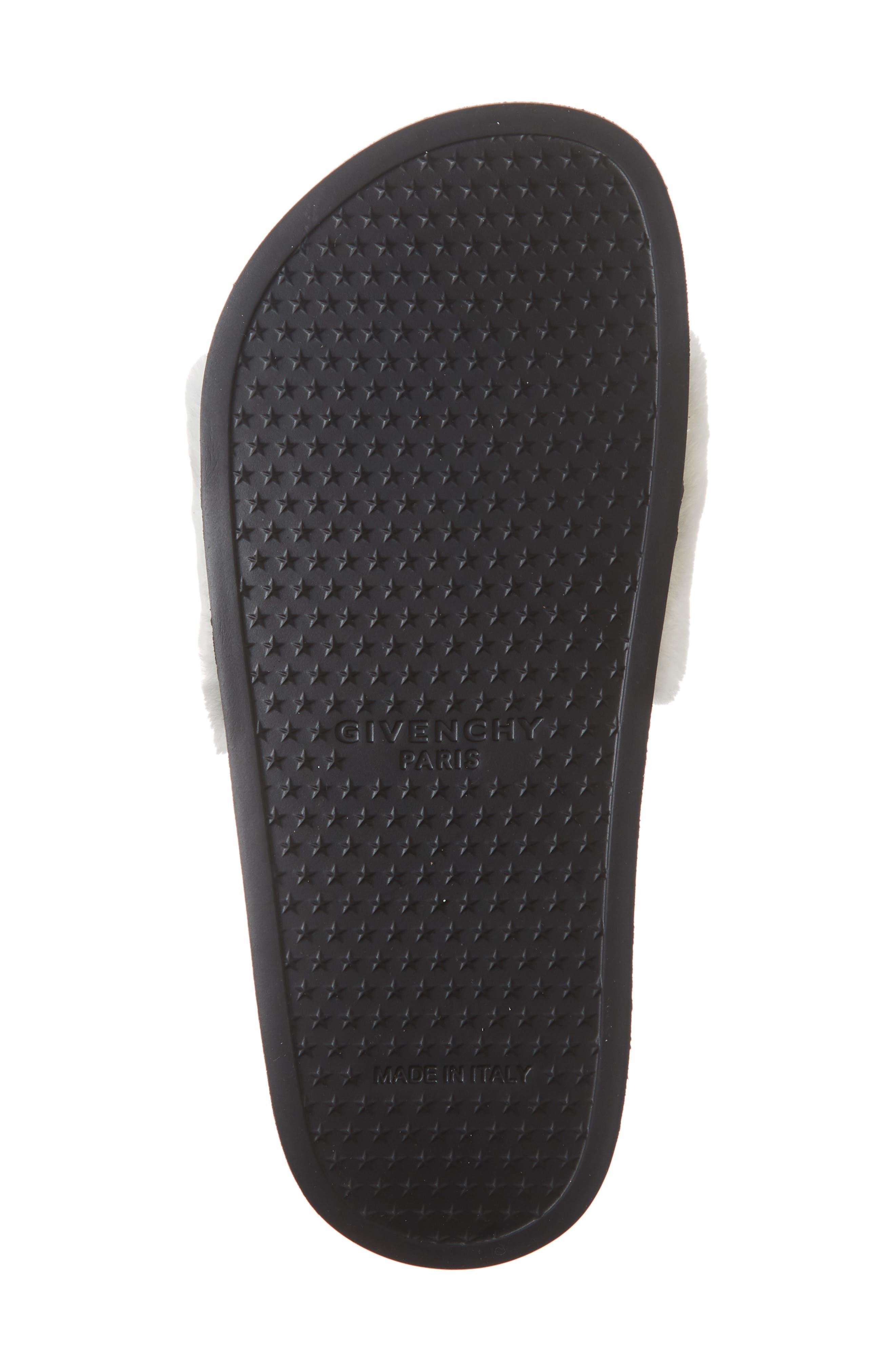 Logo Genuine Shearling Slide Sandal,                             Alternate thumbnail 6, color,                             WHITE/ BLACK