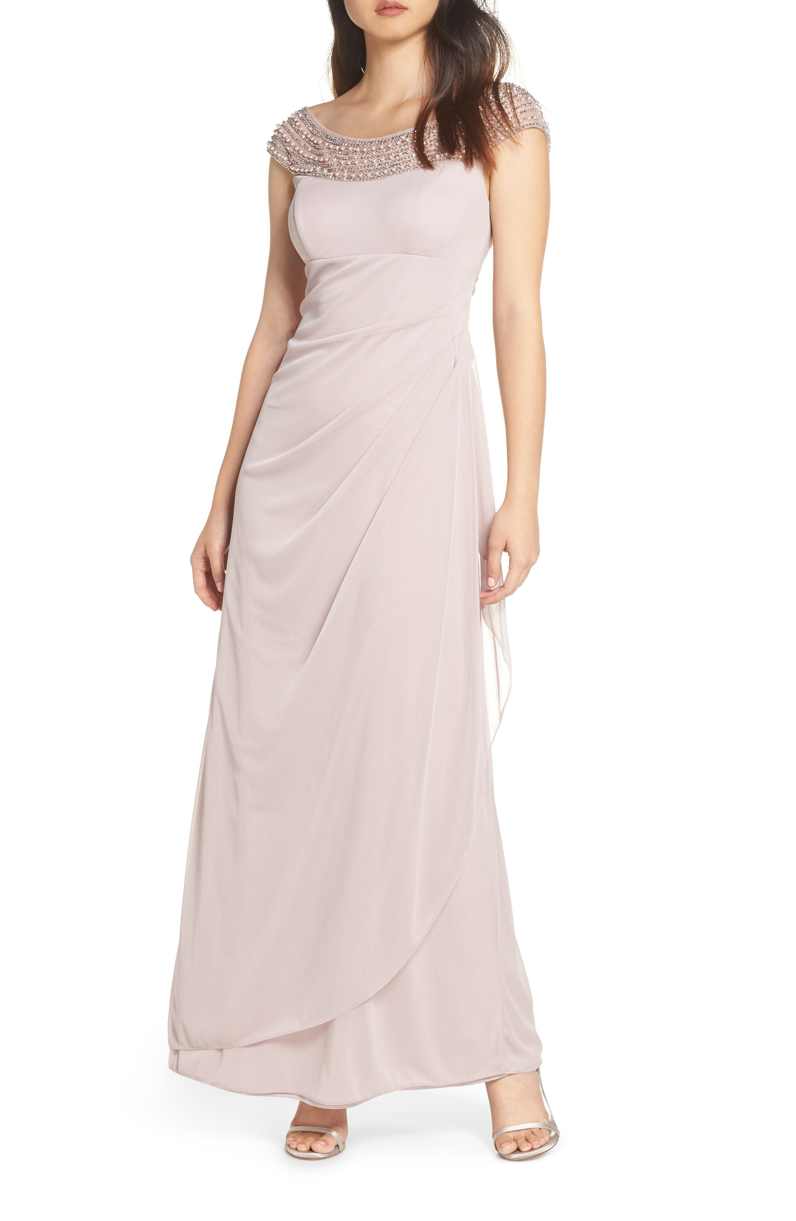 Bead Embellished Gown,                         Main,                         color, TAUPE/ SILVER