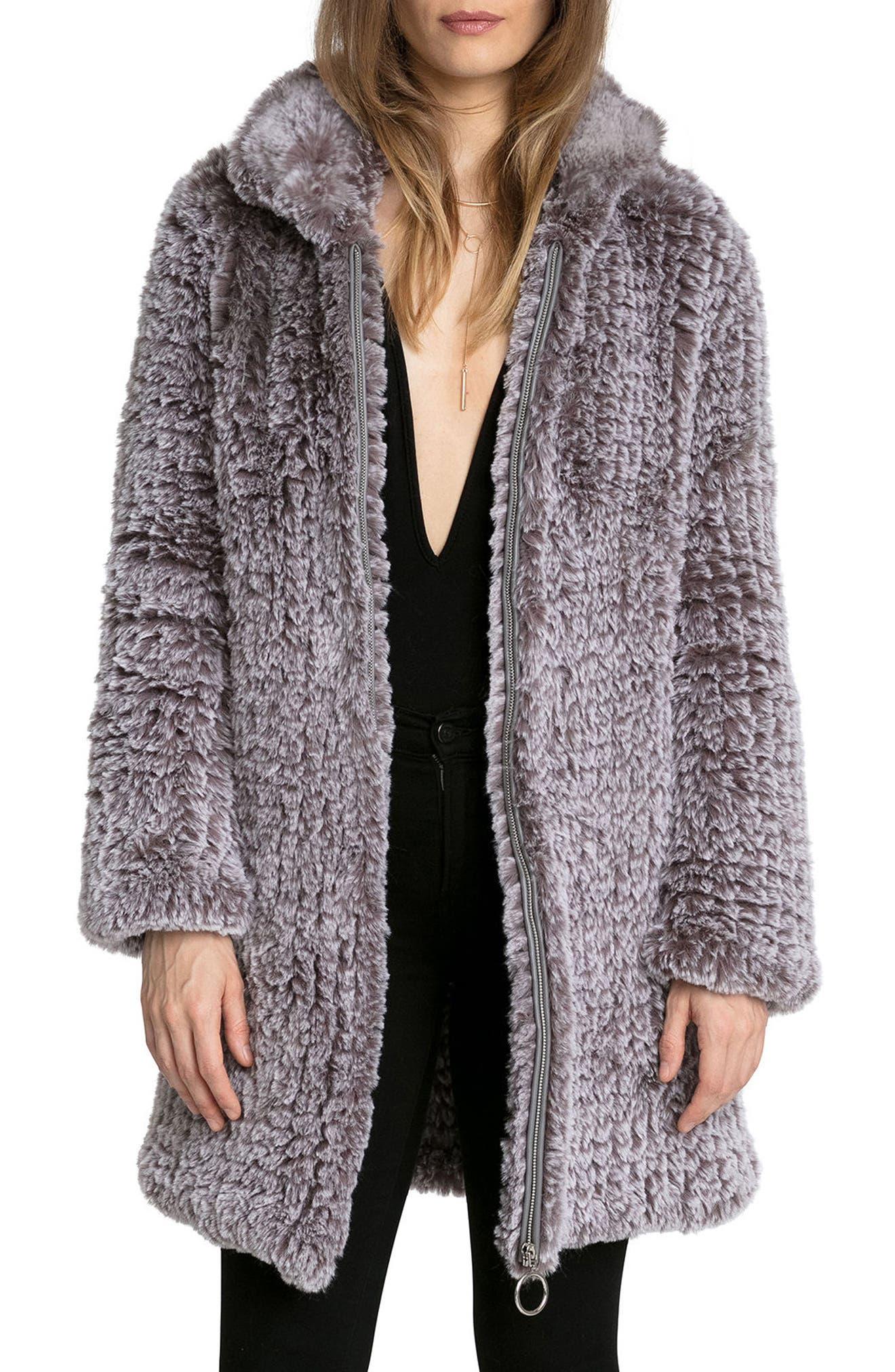 Knit Faux Fur Coat,                             Main thumbnail 1, color,                             022