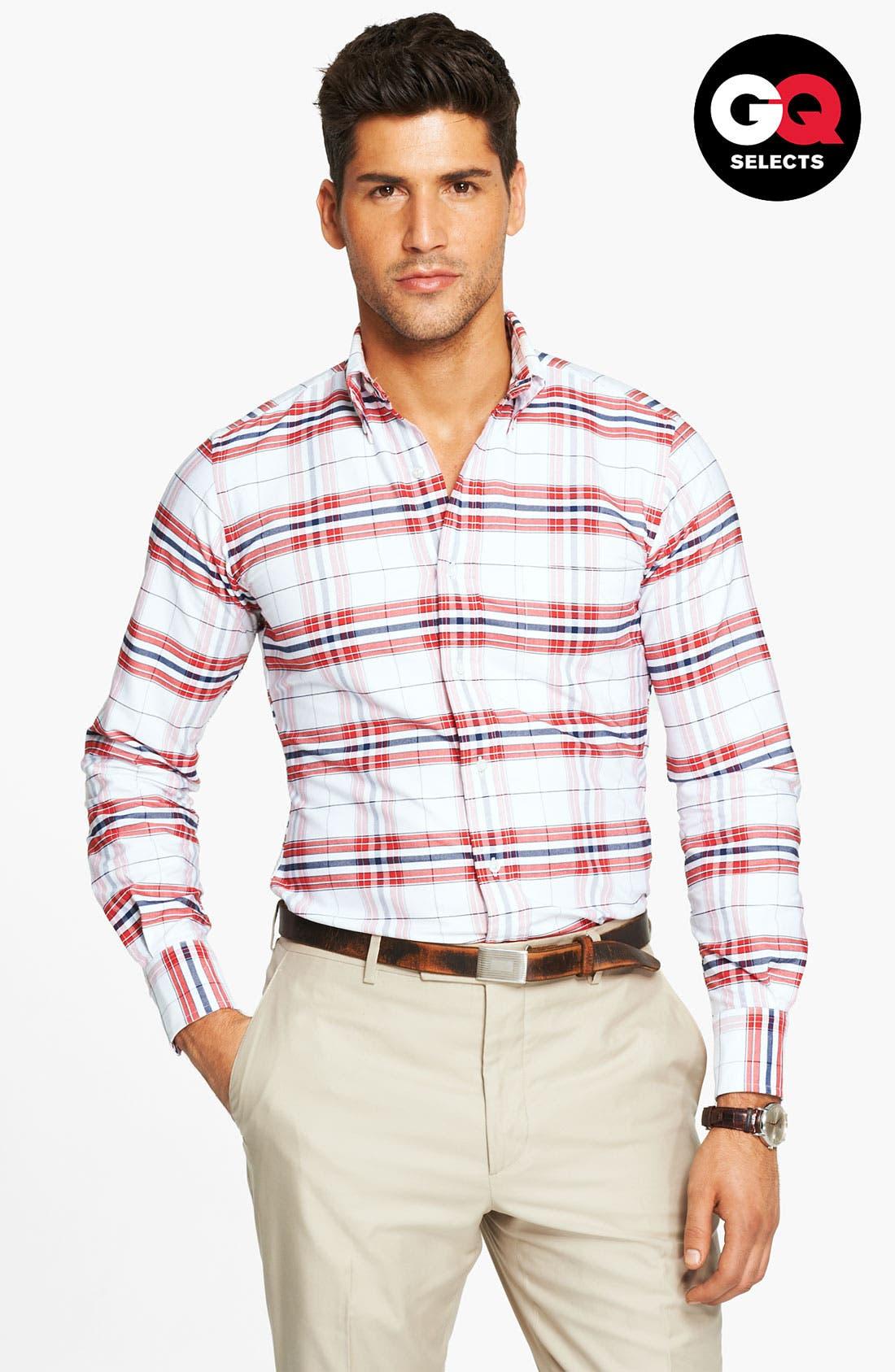 Plaid Oxford Shirt,                         Main,                         color, 600