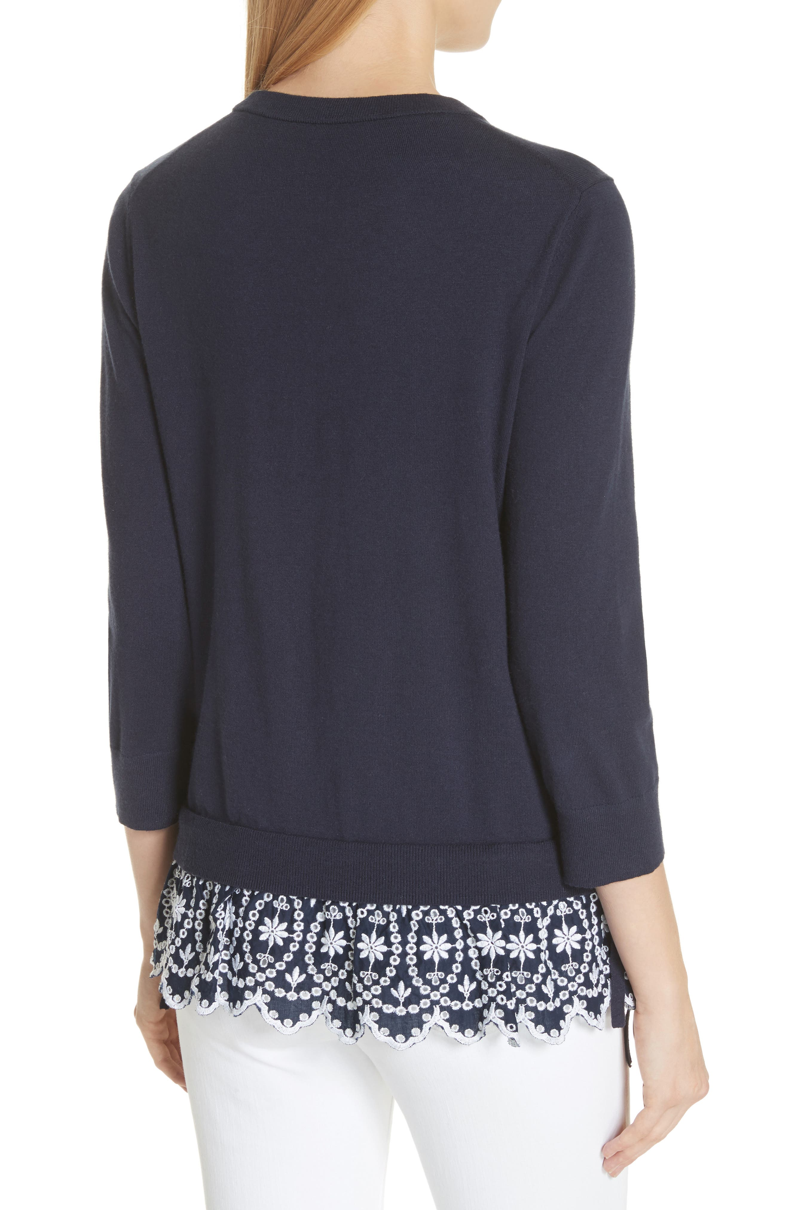 KATE SPADE NEW YORK,                             eyelet hem sweater,                             Alternate thumbnail 2, color,                             473