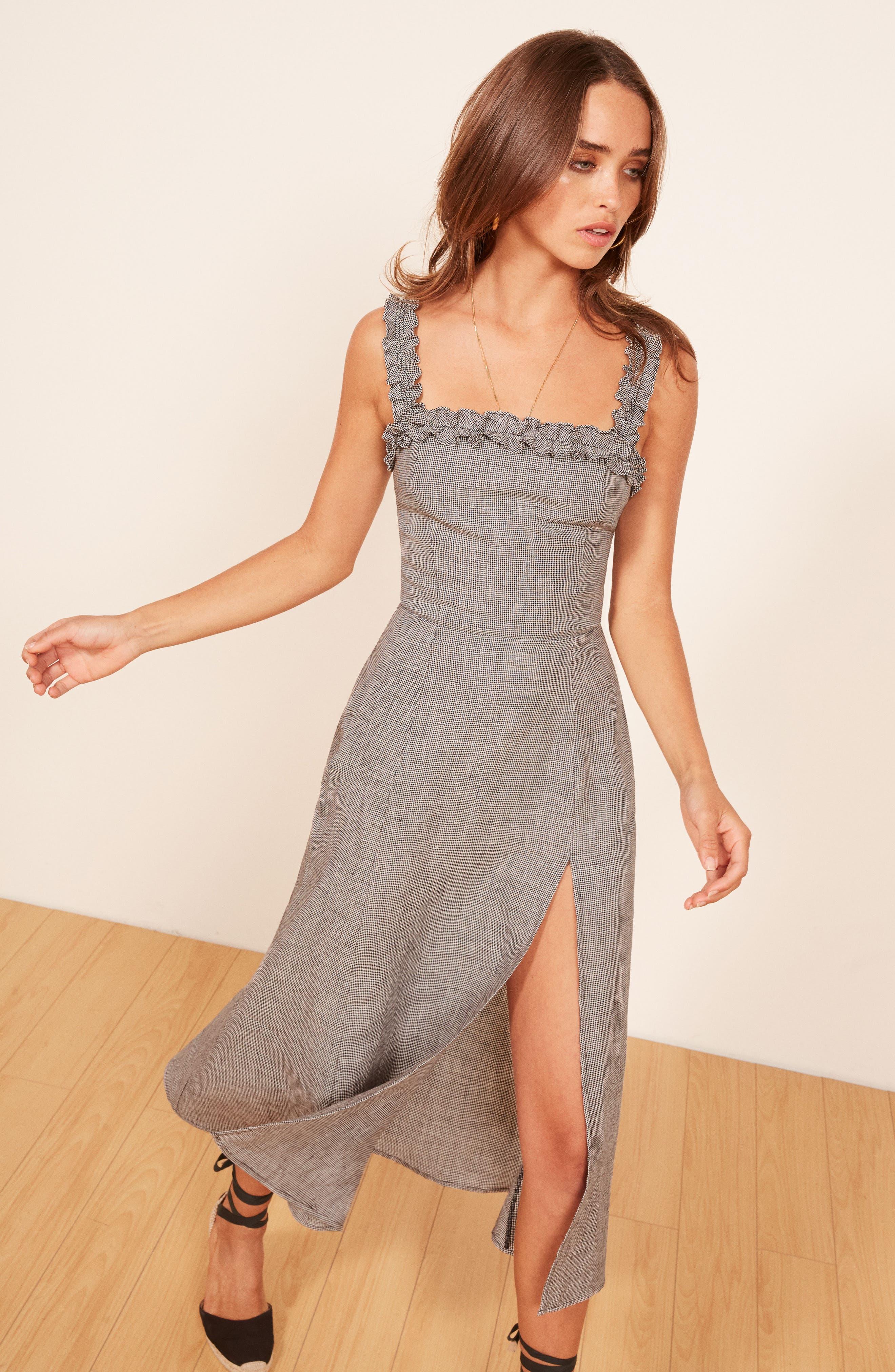 REFORMATION,                             Lavender Front Slit Linen Midi Dress,                             Alternate thumbnail 6, color,                             001