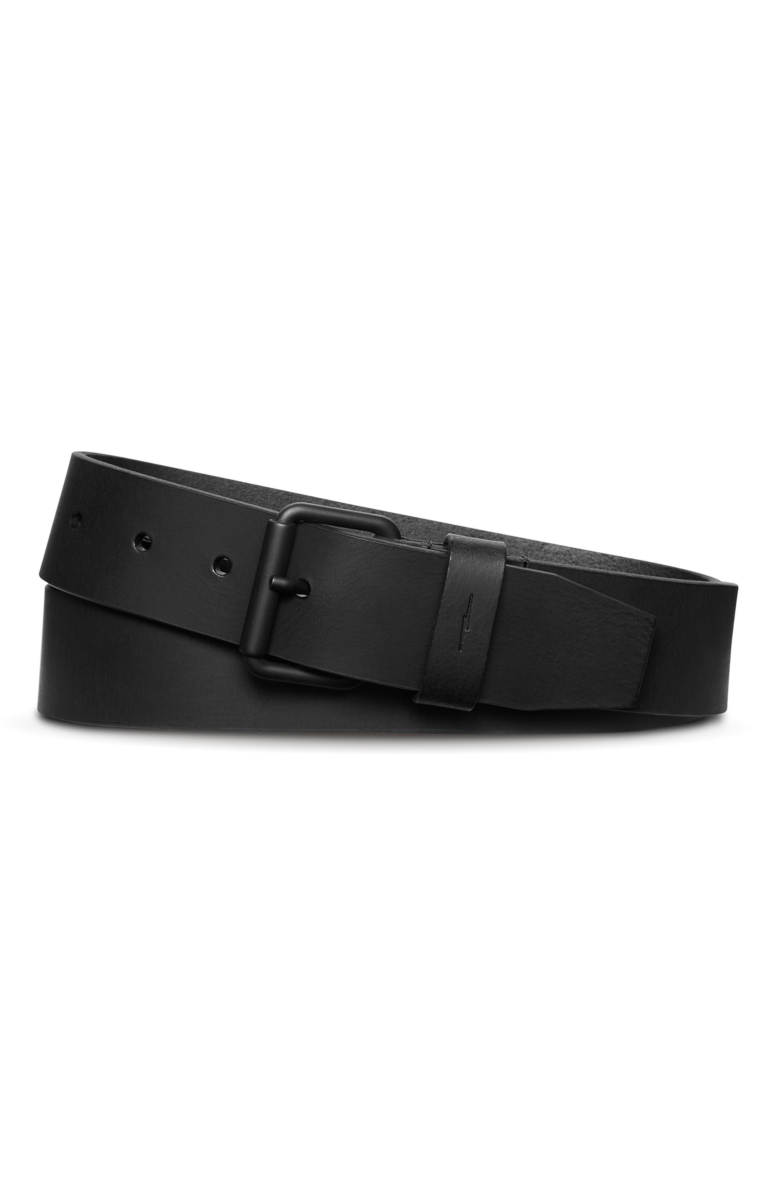 Shinola Rambler Leather Belt, Black