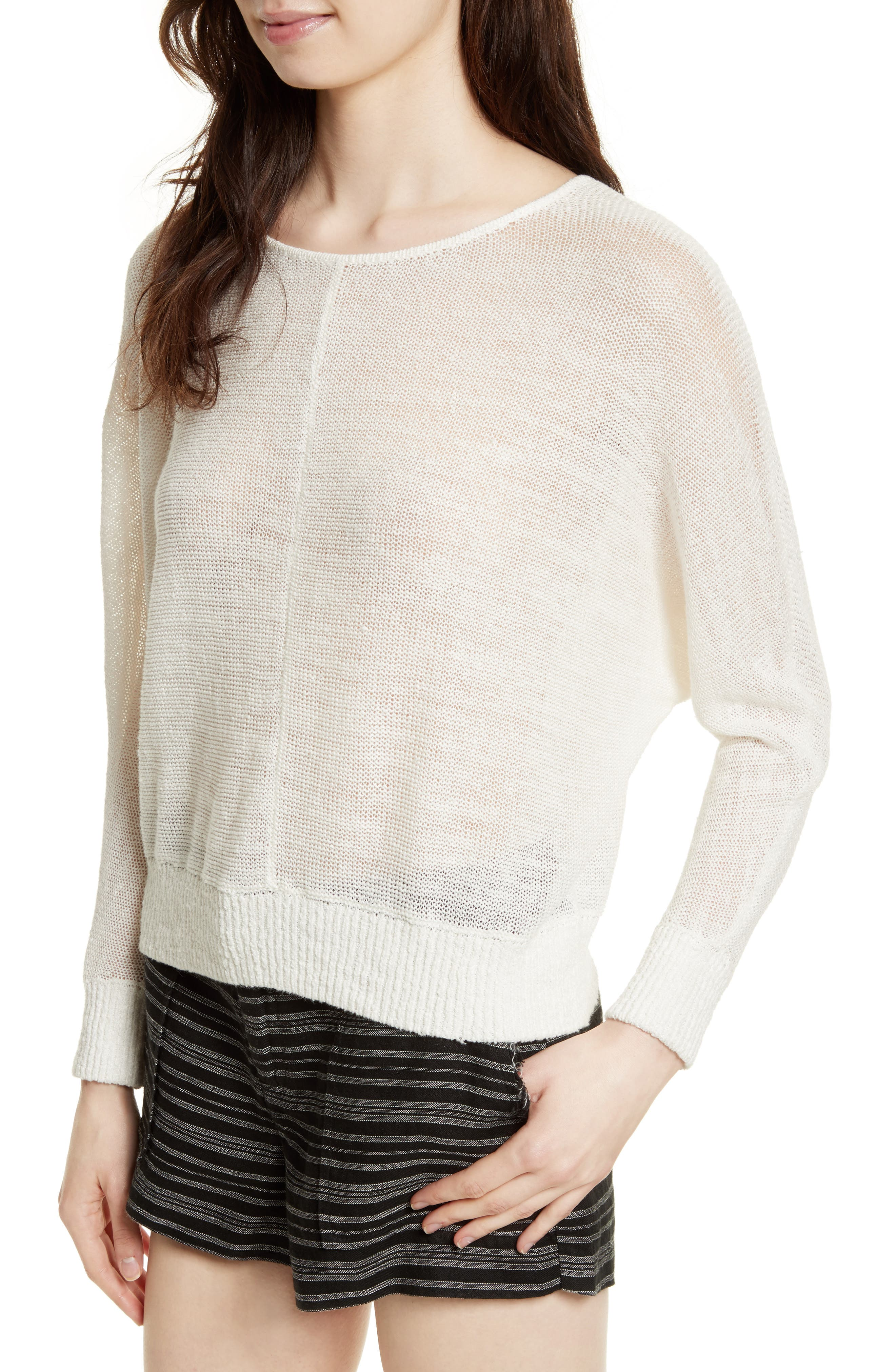 Clady Linen Open Knit Pullover,                             Alternate thumbnail 4, color,                             114
