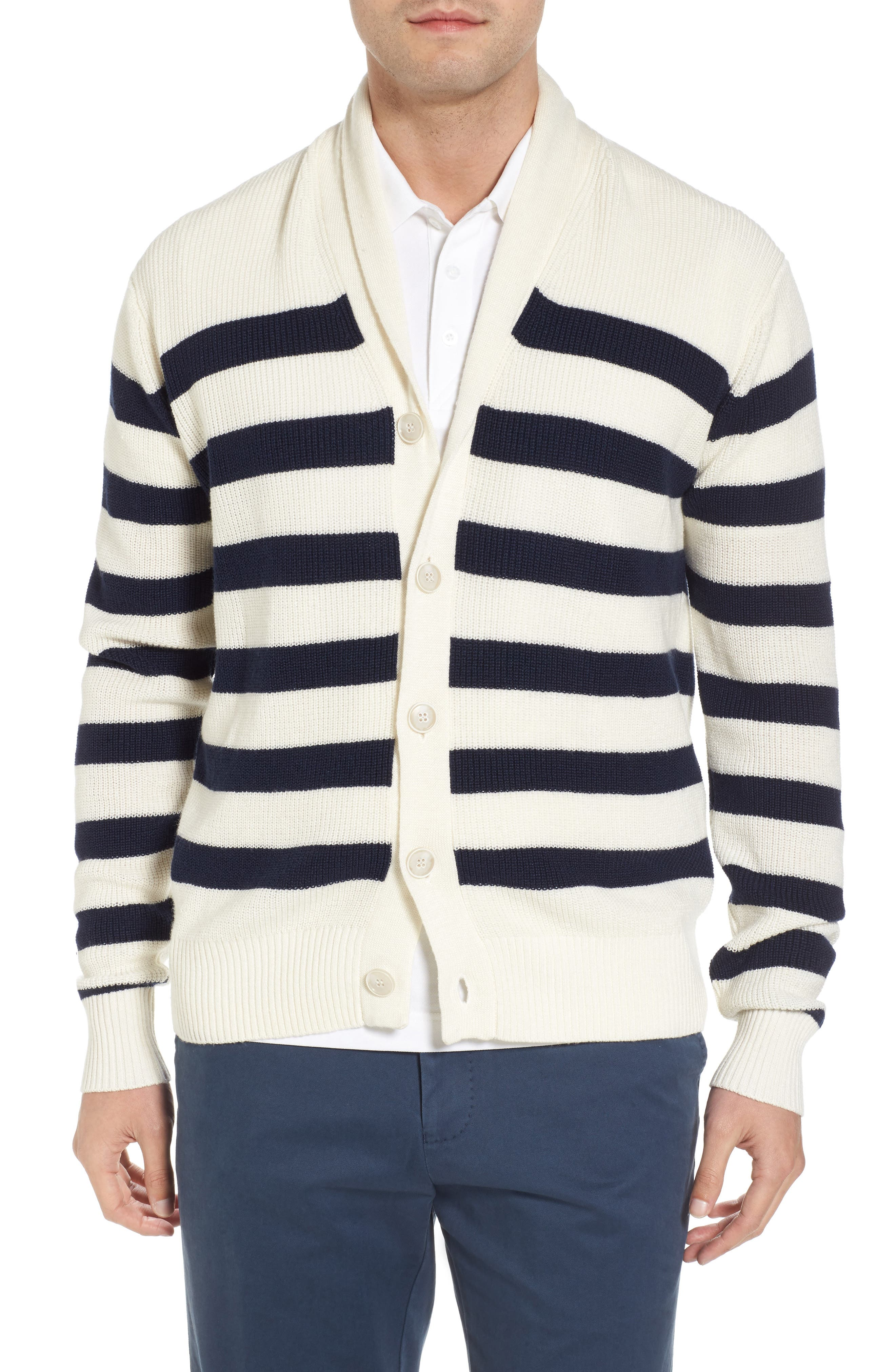 Crown Cool Sailor Stripe Merino Wool & Linen Cardigan, Main, color, 400