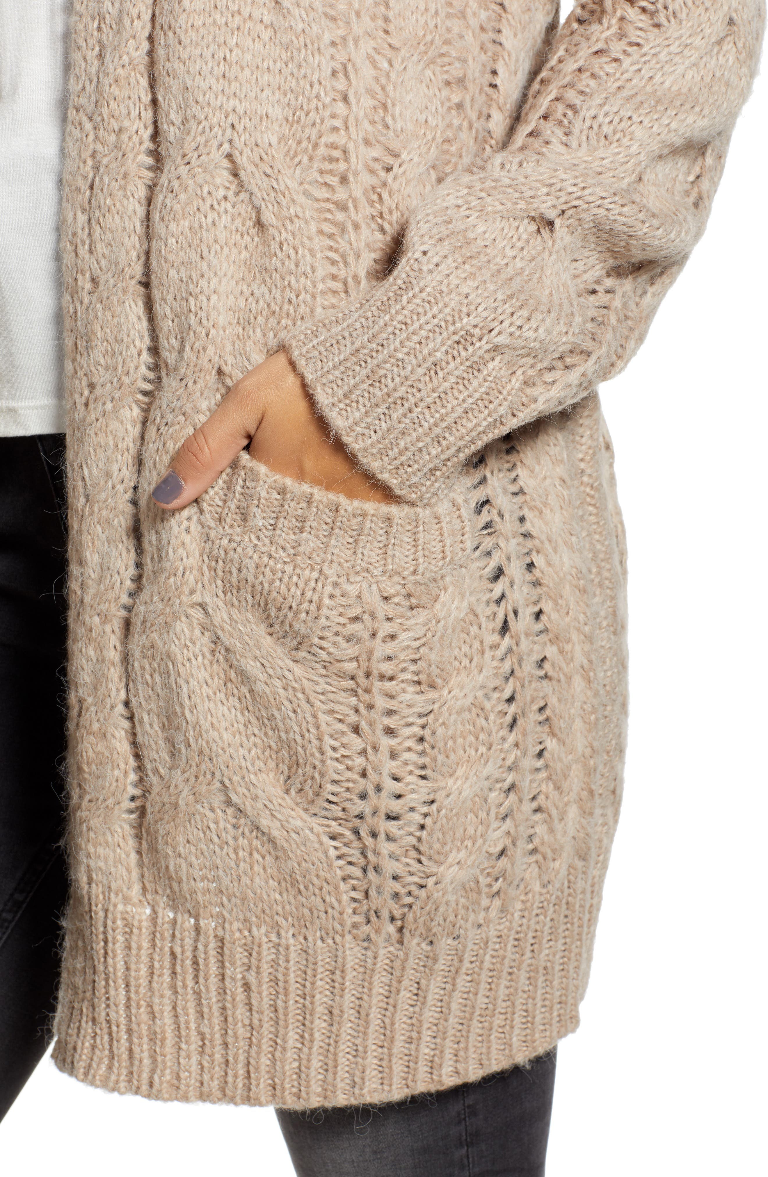 Chunky Cable Knit Cardigan,                             Alternate thumbnail 4, color,                             TAUPE