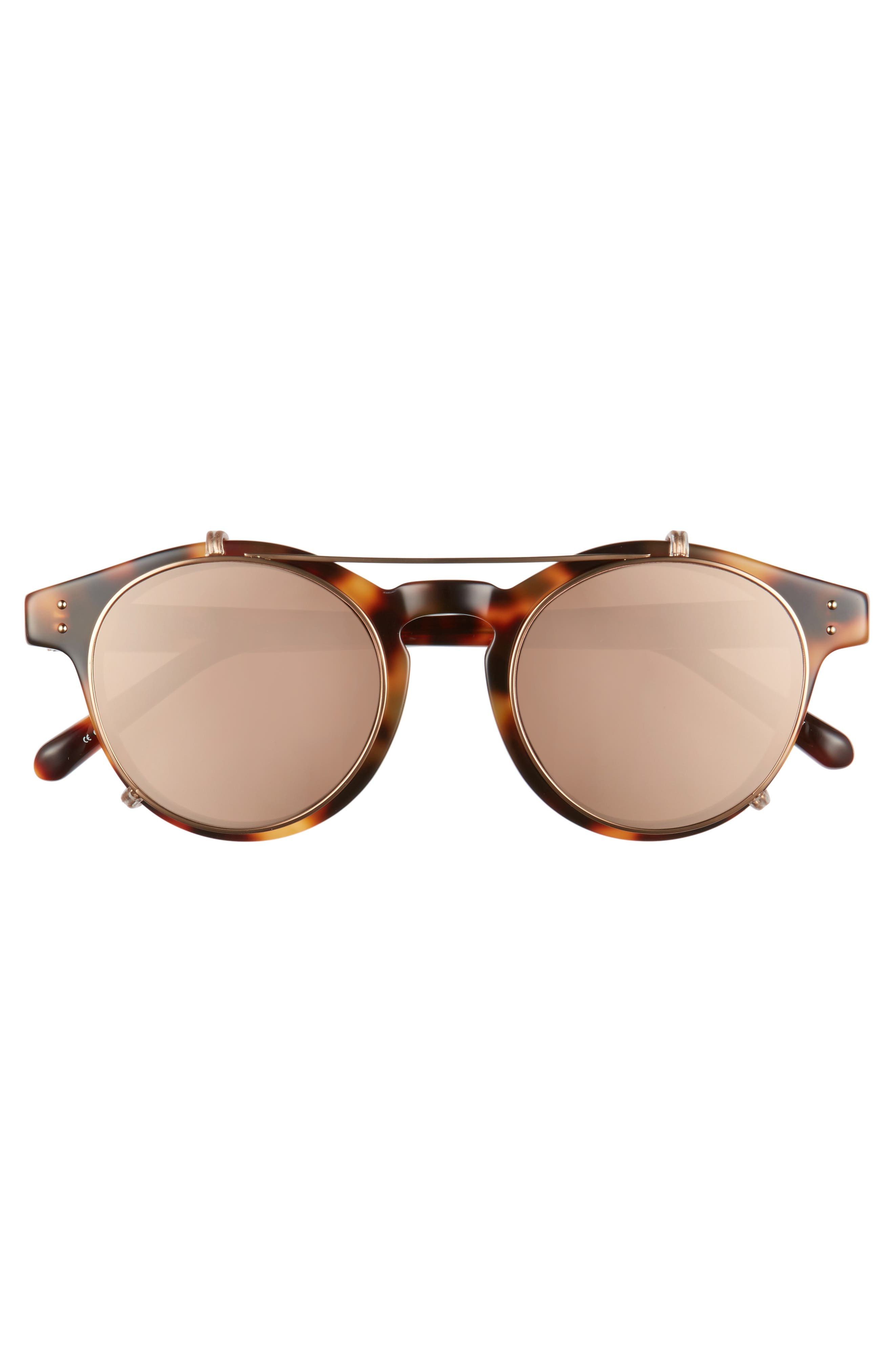 47mm Optical Glasses with Clip-On 18 Karat Rose Gold Trim Sunglasses,                             Alternate thumbnail 6, color,