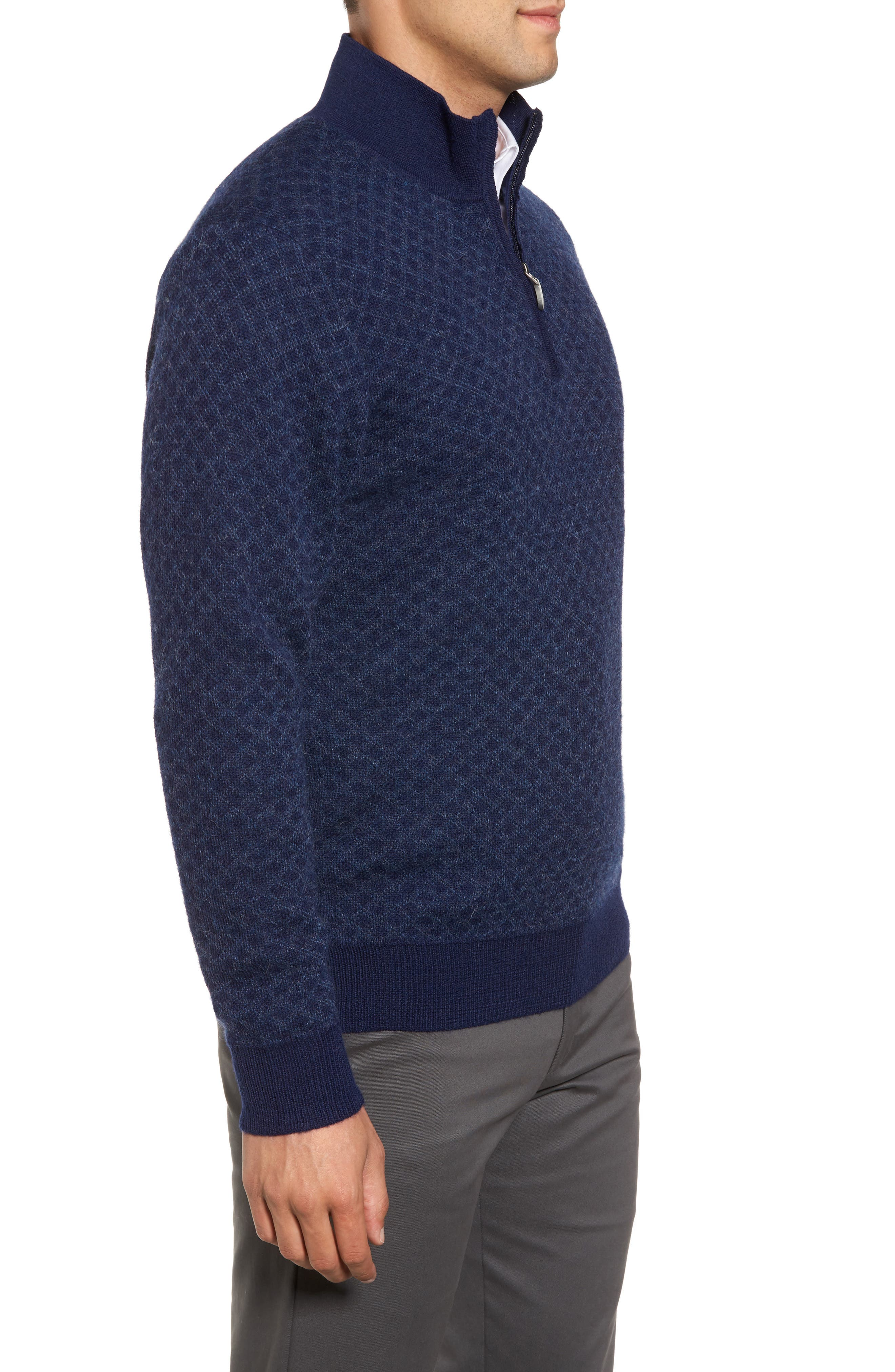 Diamond Quarter Zip Alpaca Sweater,                             Alternate thumbnail 6, color,