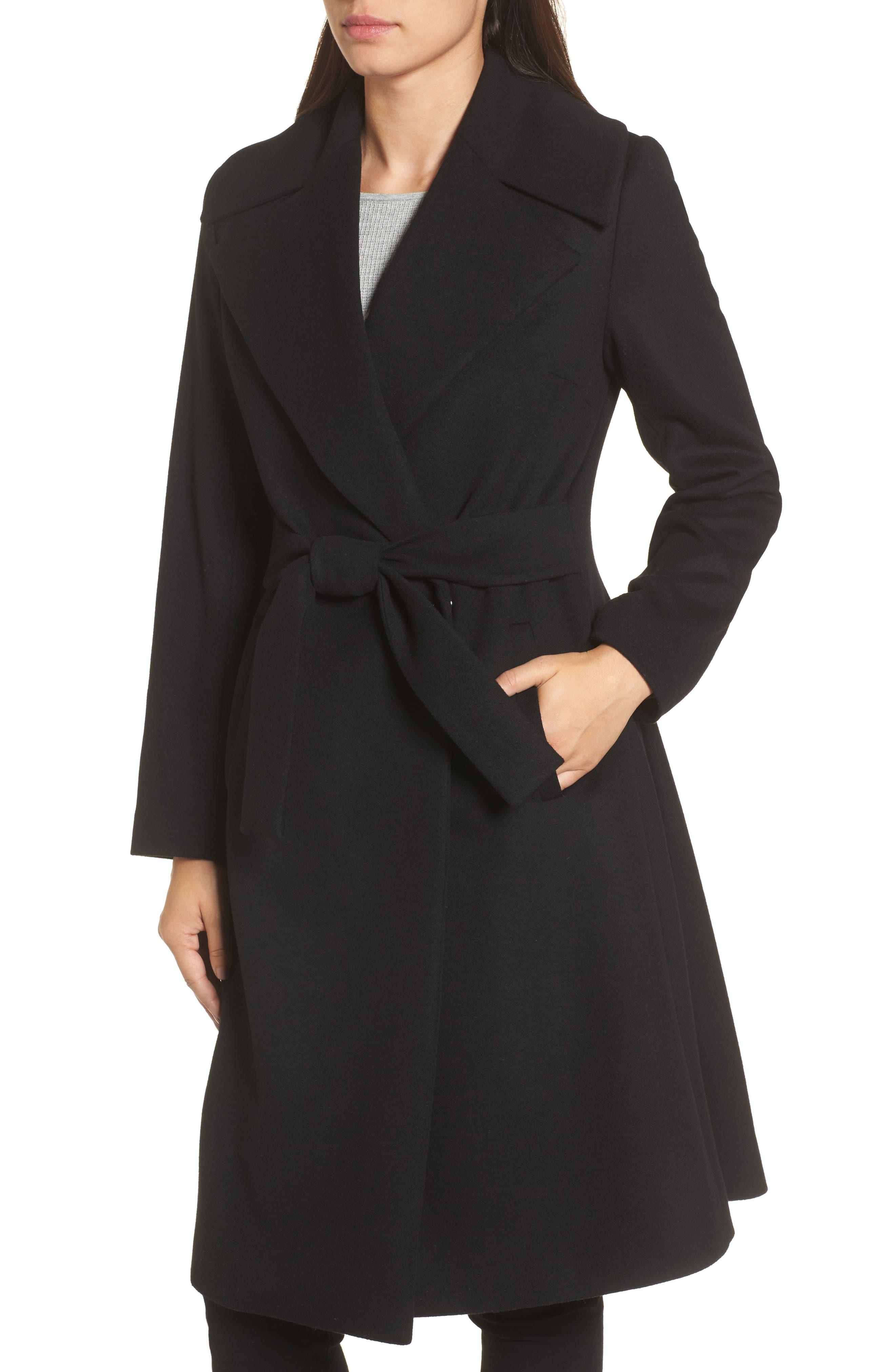 Luna Wool Blend Wrap Coat,                             Alternate thumbnail 4, color,                             001