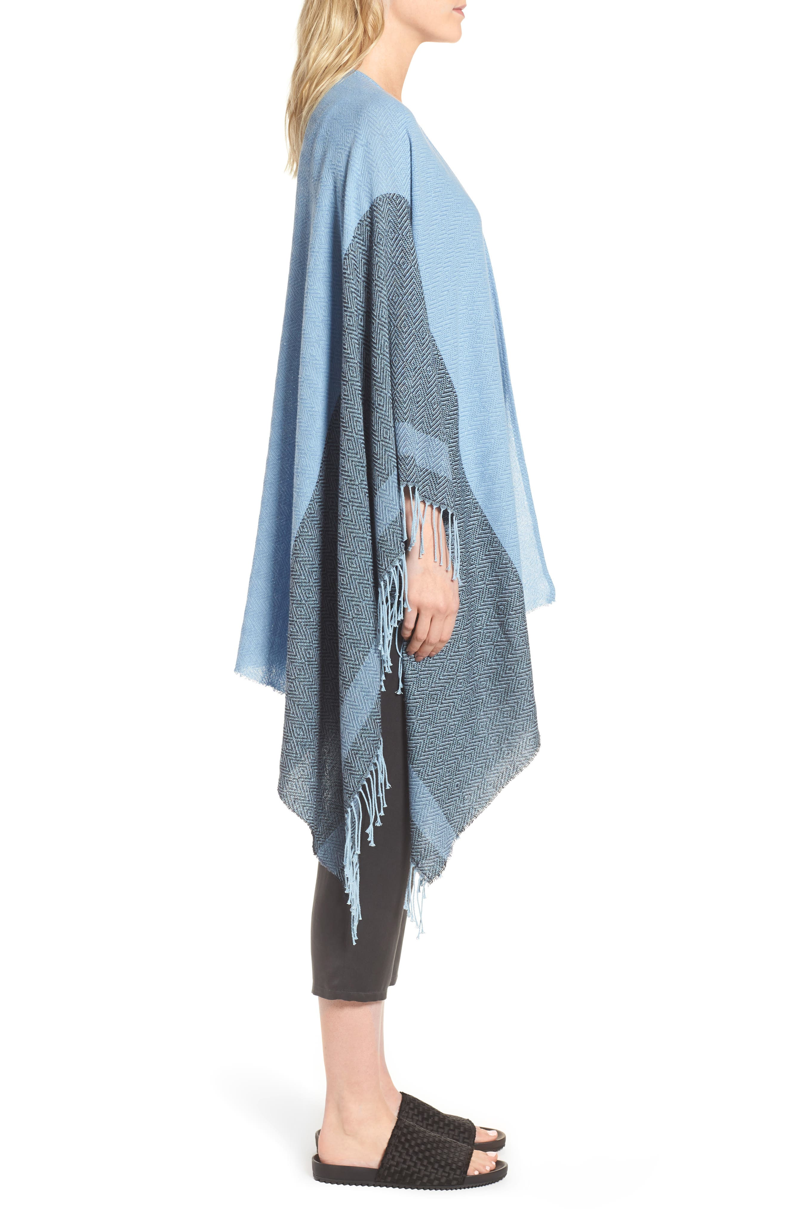 Recycled Cotton Poncho Wrap,                             Alternate thumbnail 3, color,