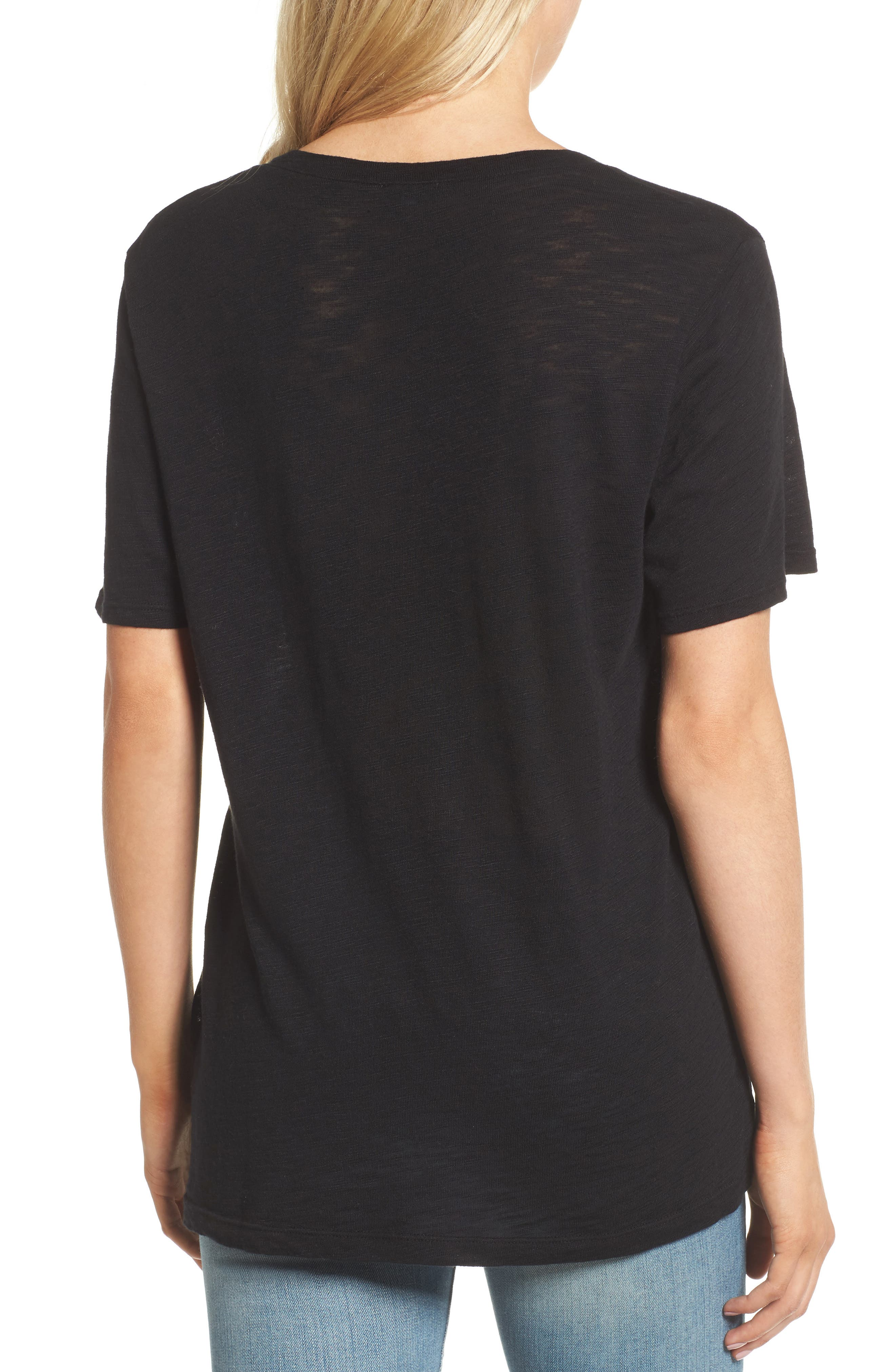 V-Neck Slub Jersey Tee,                             Alternate thumbnail 2, color,                             BLACK