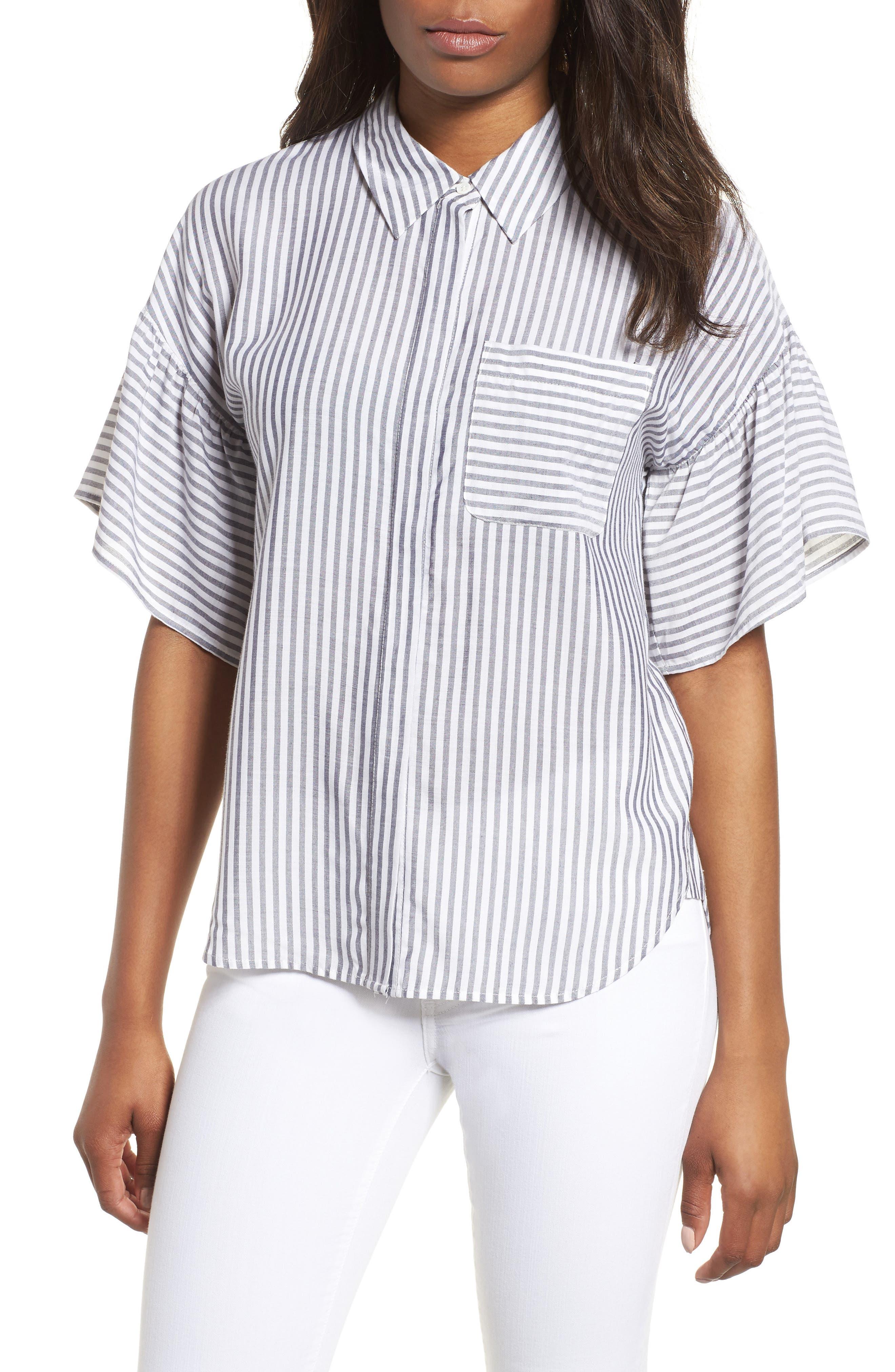 Drop Shoulder Flutter Sleeve Stripe Shirt,                         Main,                         color, 430