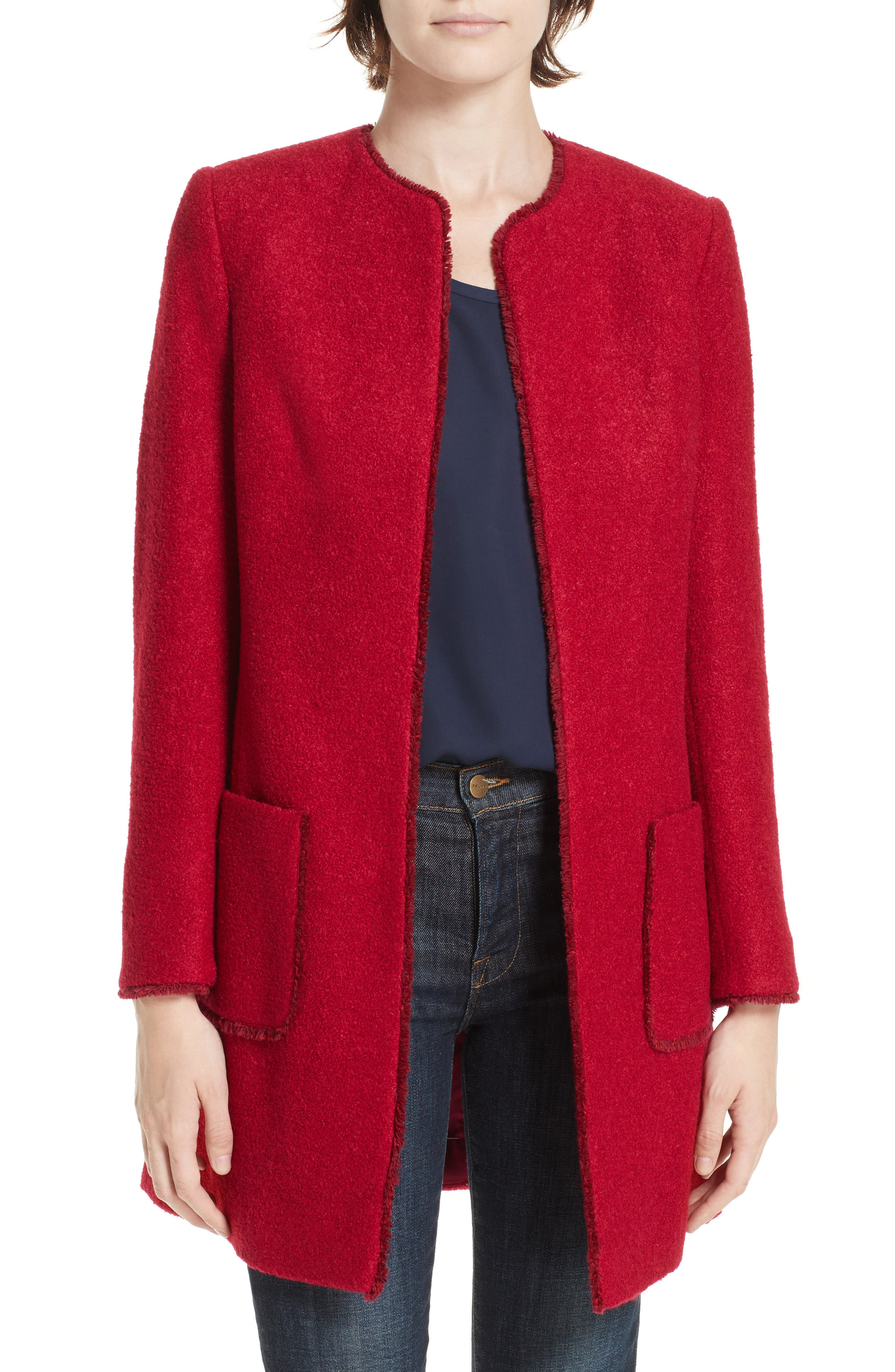 HELENE BERMAN Tweed Topper in Red