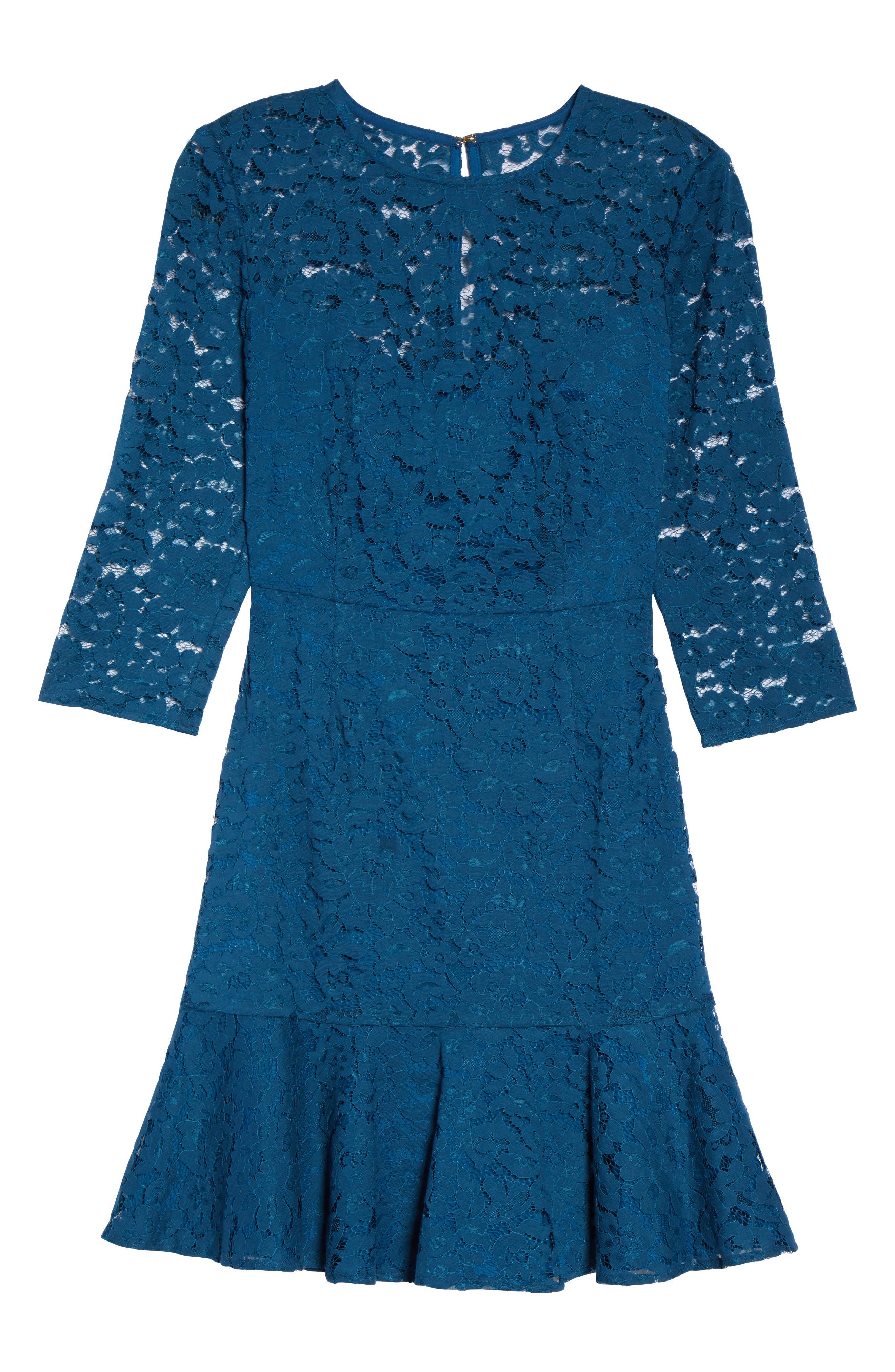 Stanley Lace Fit & Flare Dress,                             Alternate thumbnail 6, color,                             412