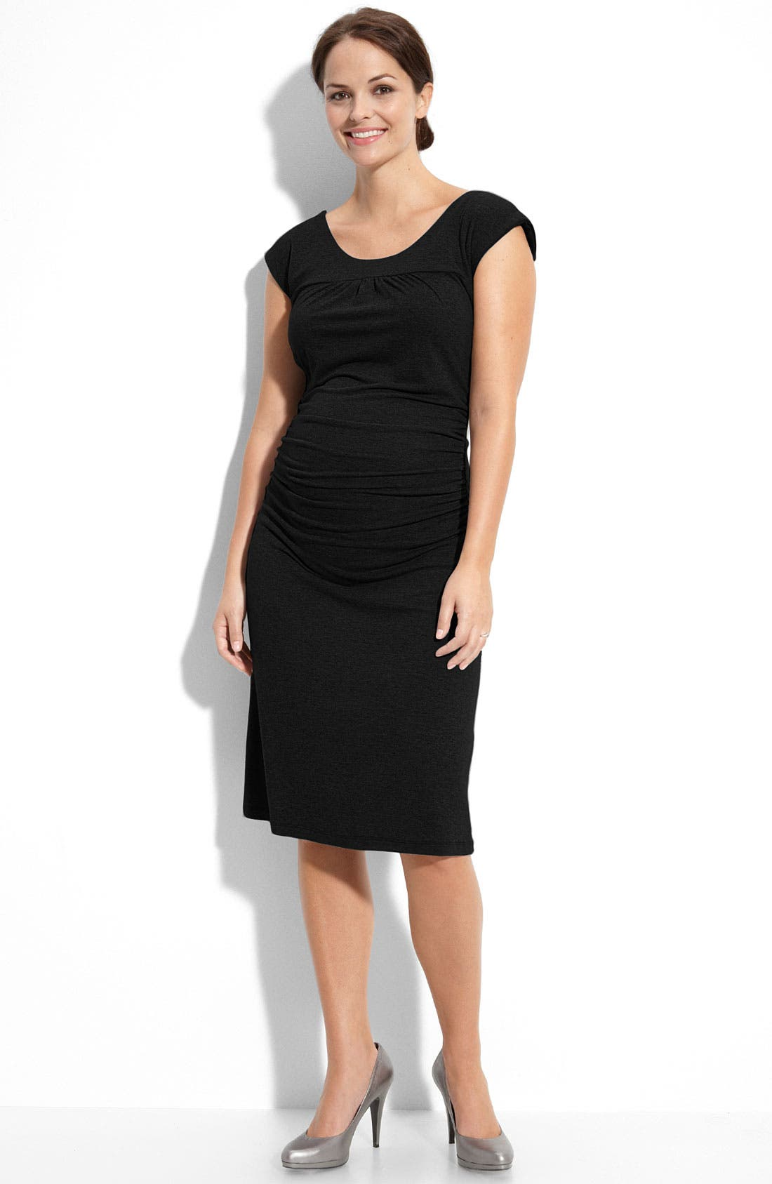 NOM MATERNITY,                             'Sophie' Ruched Maternity Dress,                             Main thumbnail 1, color,                             001