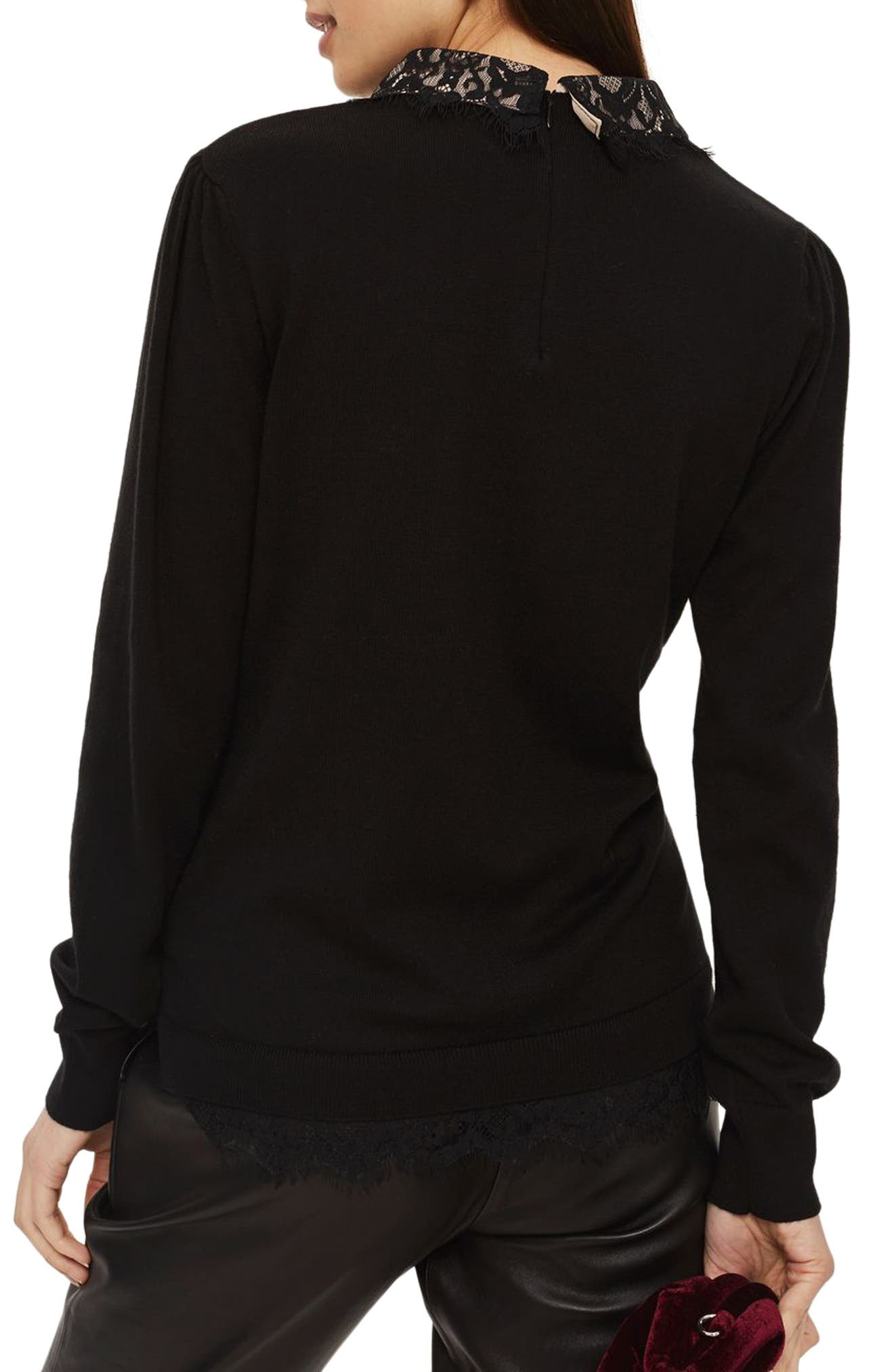 Lace Collar Hybrid Sweater,                             Alternate thumbnail 2, color,                             001