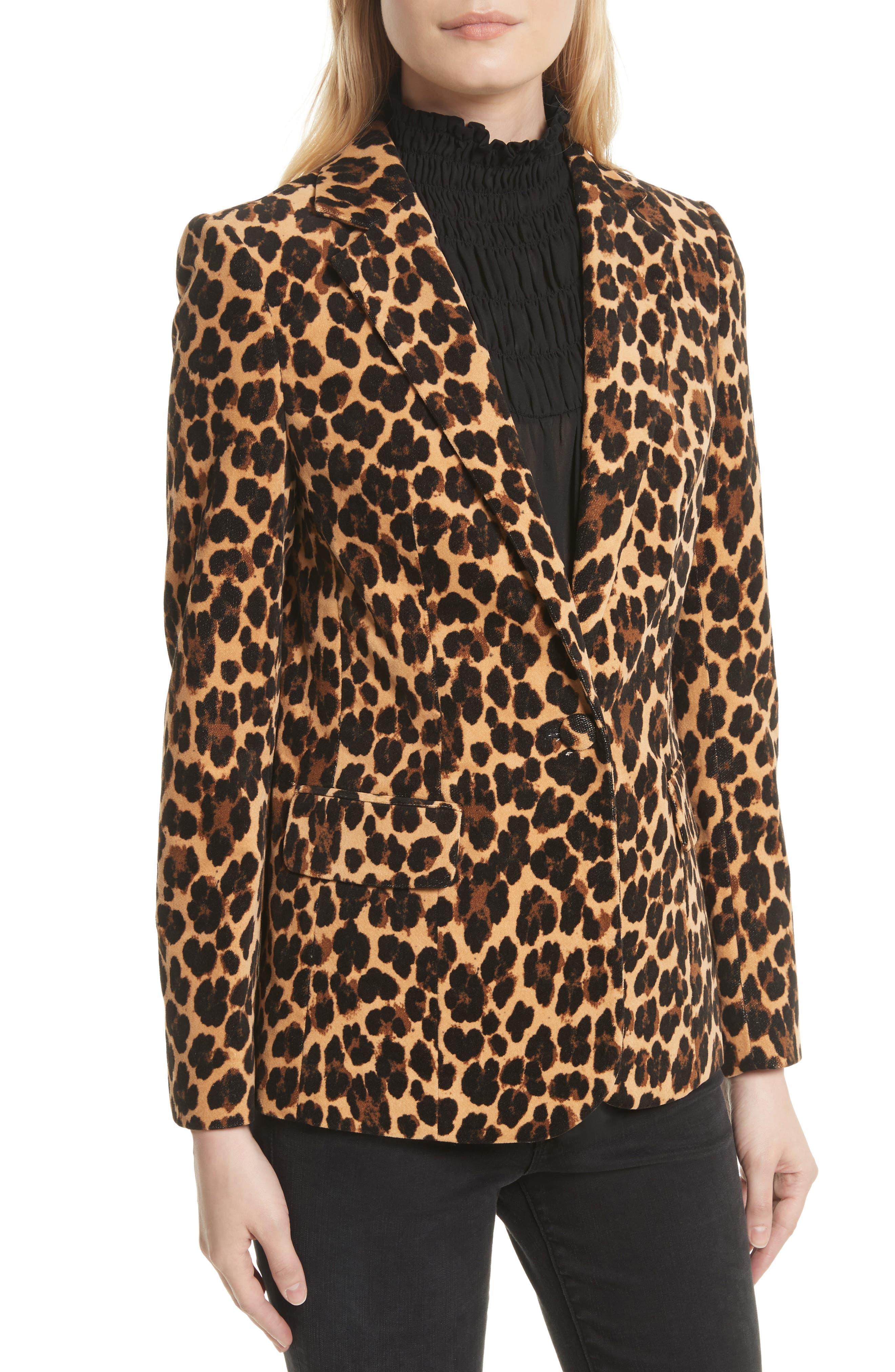 Cheetah Classic Velvet Blazer,                             Alternate thumbnail 4, color,                             200