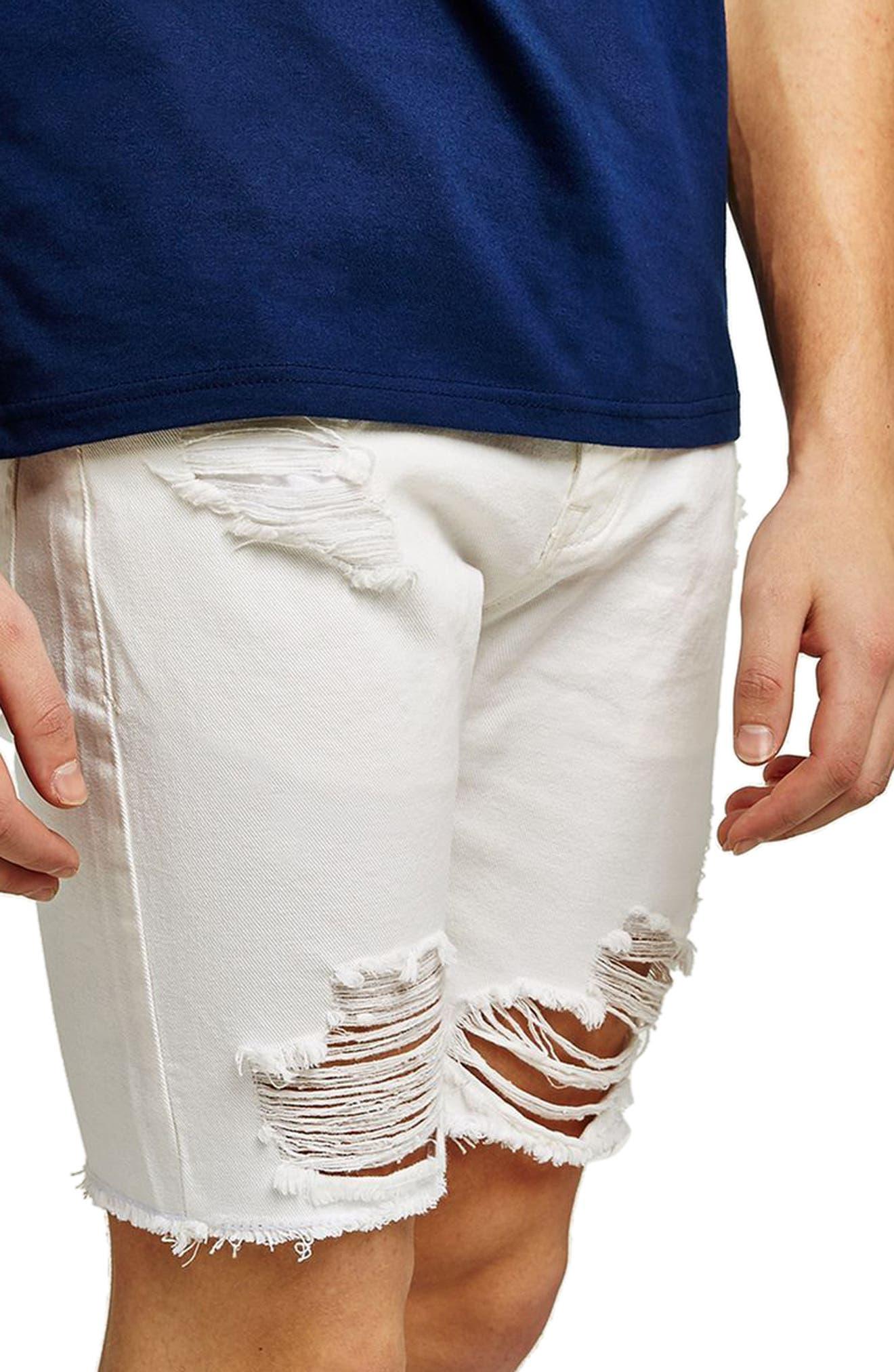 Slim Fit Ripped Denim Shorts,                             Alternate thumbnail 3, color,                             100
