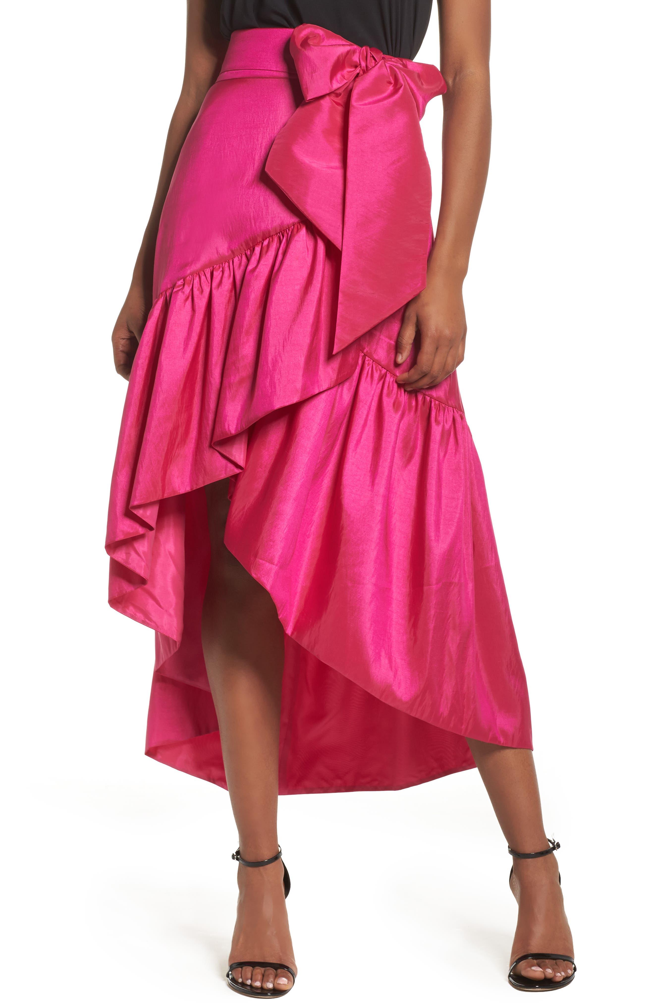 Ruffled Faux Wrap Skirt,                             Main thumbnail 1, color,