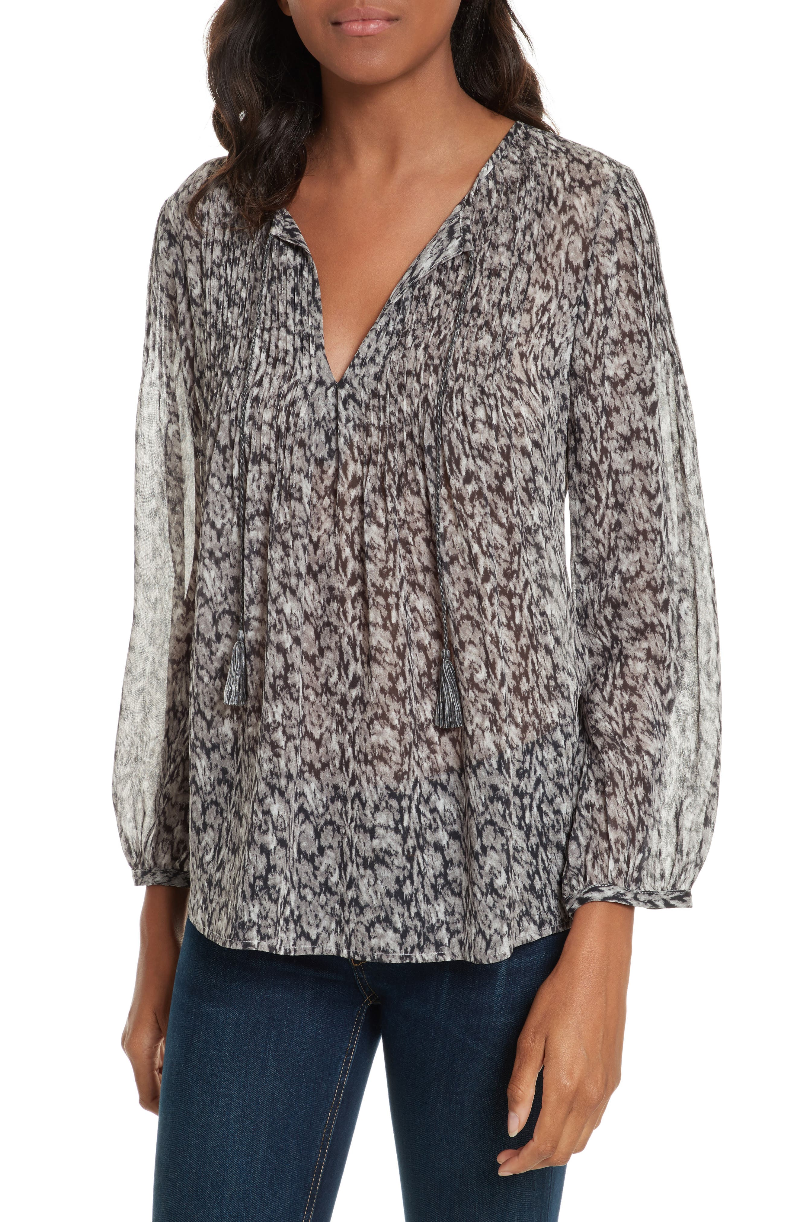 Suzetta Print Silk Top,                             Main thumbnail 1, color,