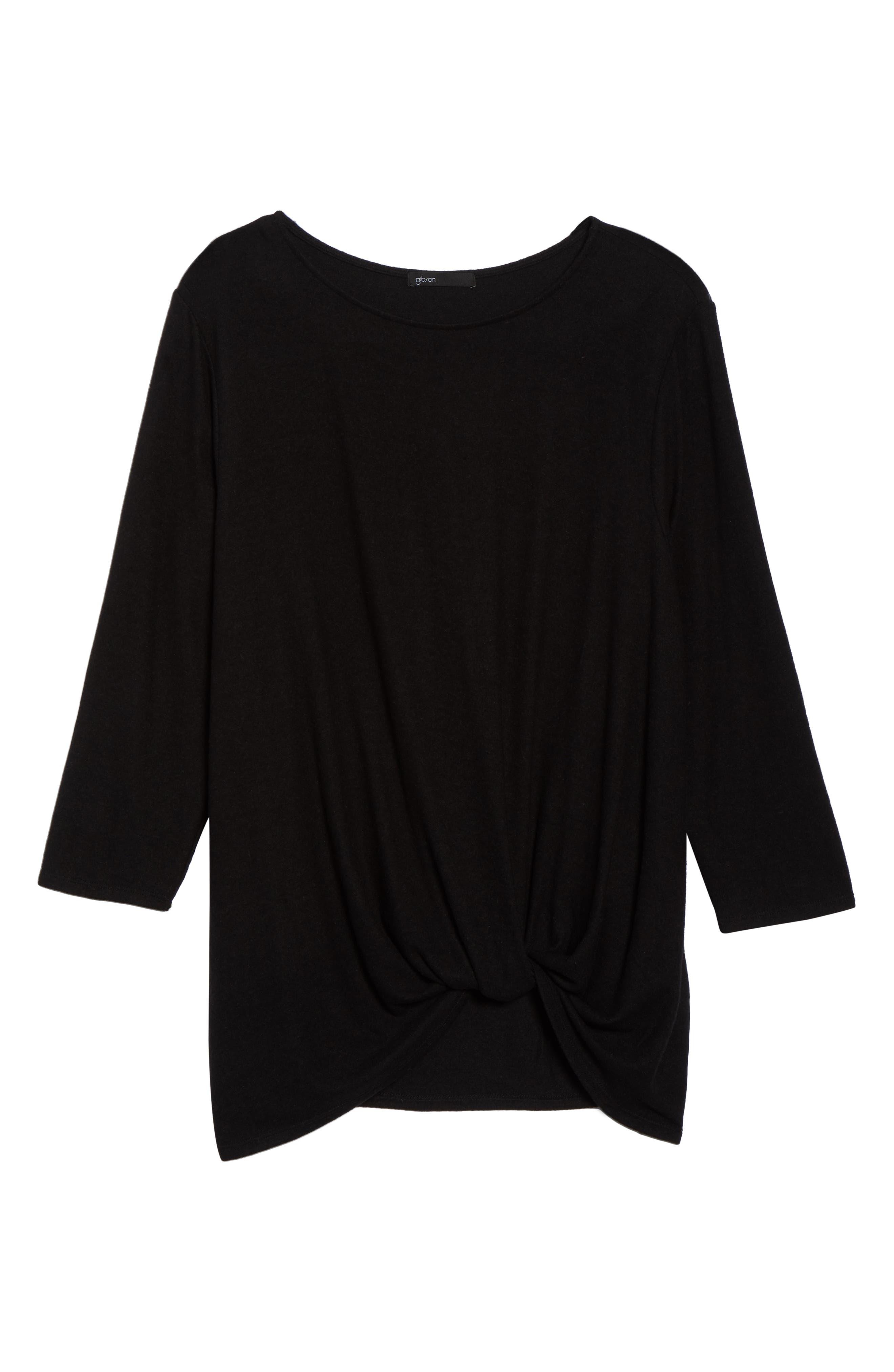 Twist Front Cozy Pullover,                             Alternate thumbnail 6, color,                             BLACK