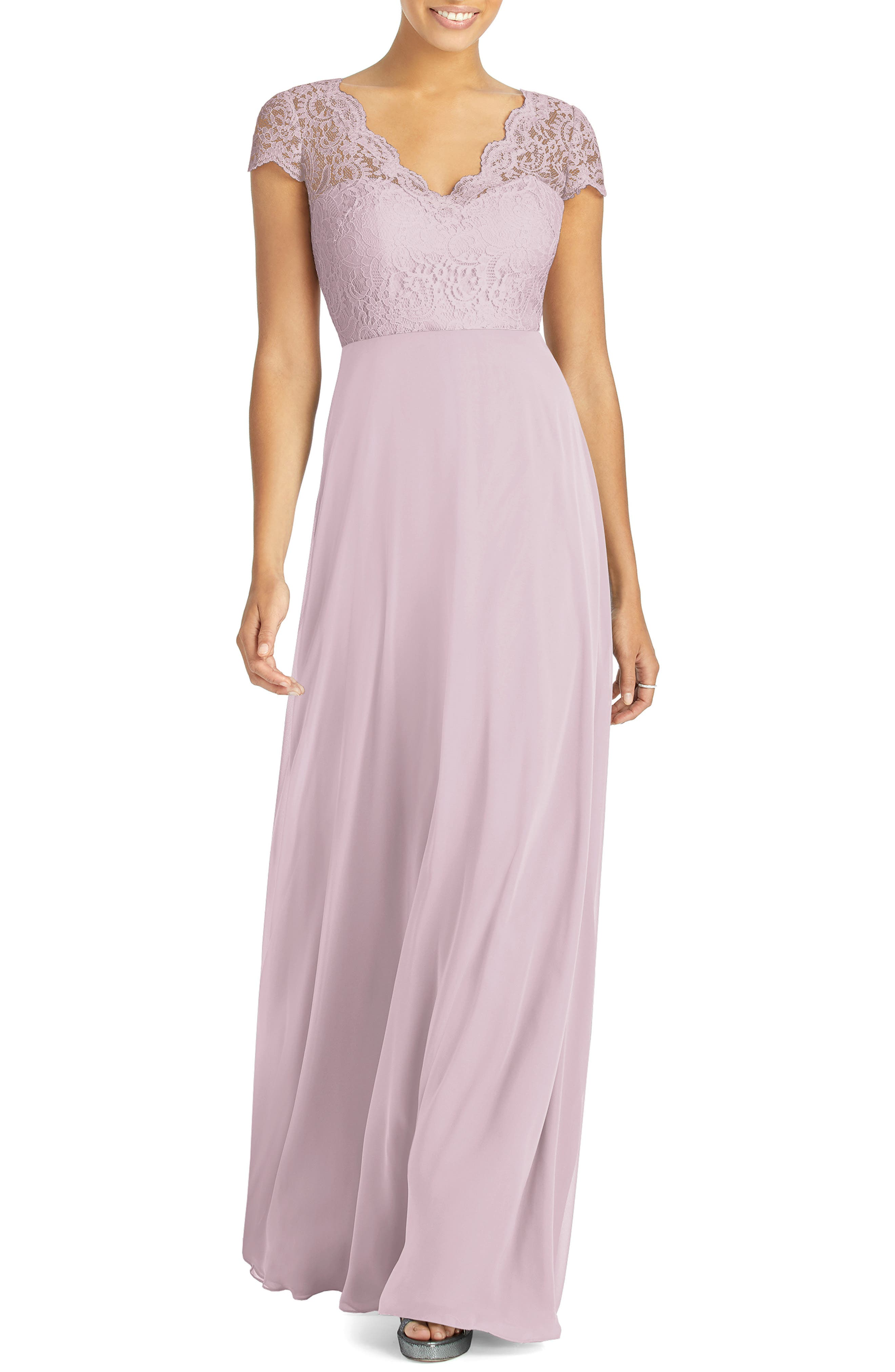 Dessy Collection Cap Sleeve Lace & Chiffon Gown, Pink
