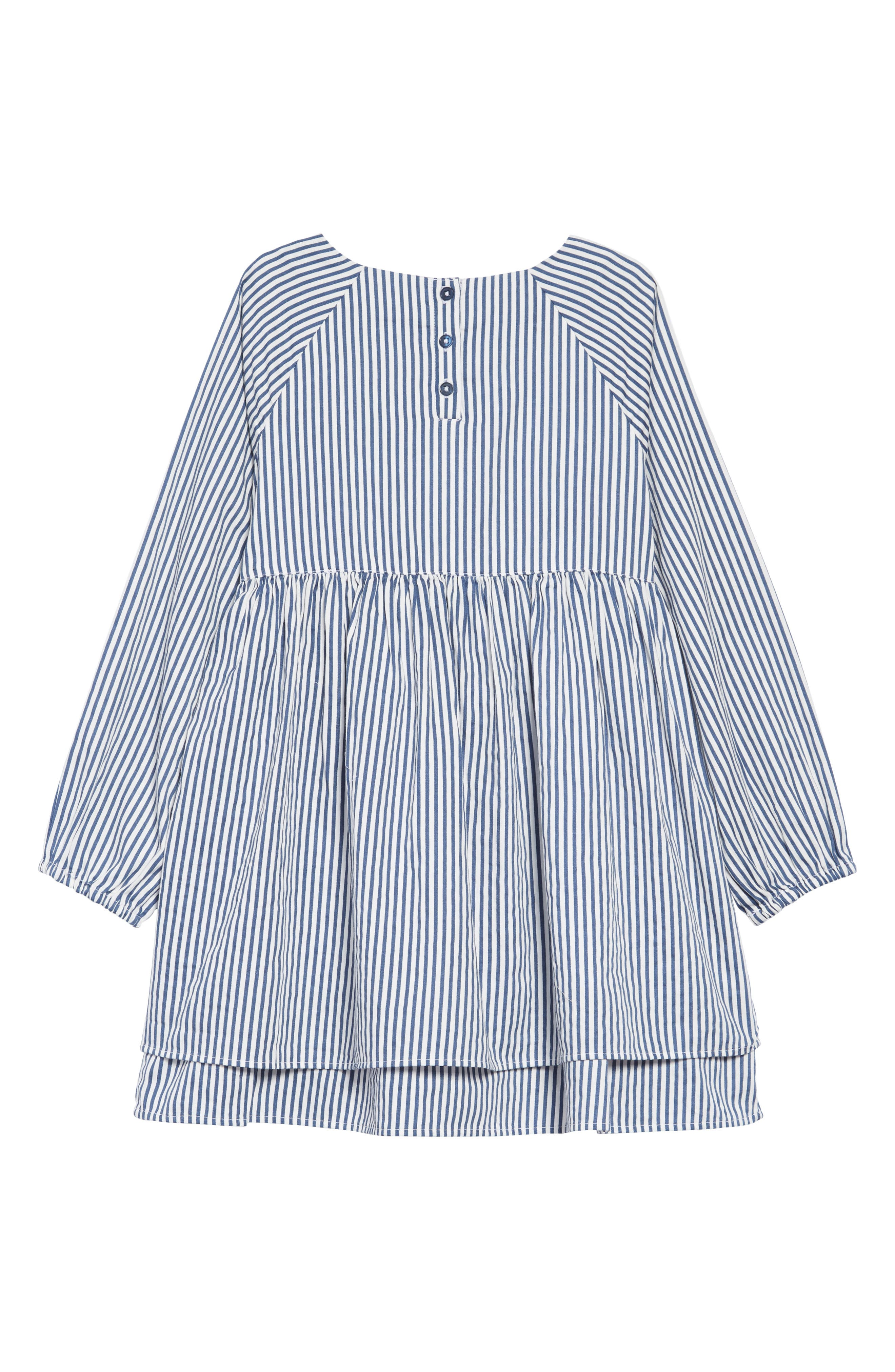 Woven Stripe Dress,                             Alternate thumbnail 2, color,                             WHITE- NAVY STRIPE