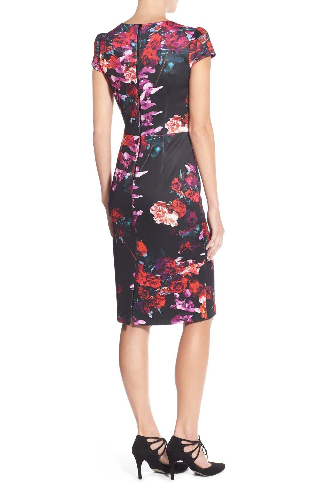 Floral Print Knit Sheath Dress,                             Alternate thumbnail 3, color,                             006