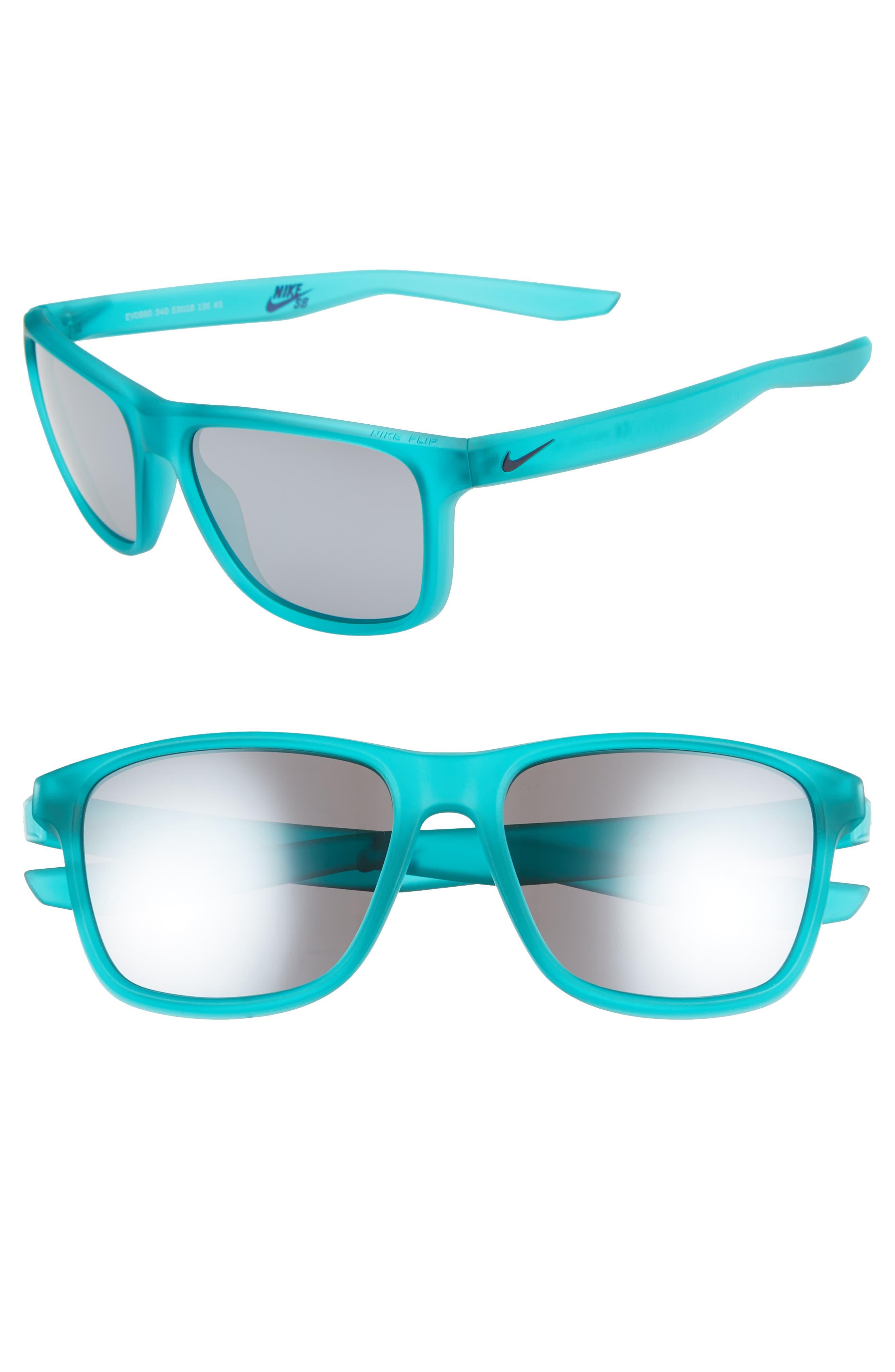 Nike Flip 5m Mirrored Sunglasses - Matte Clear Jade/ Grey
