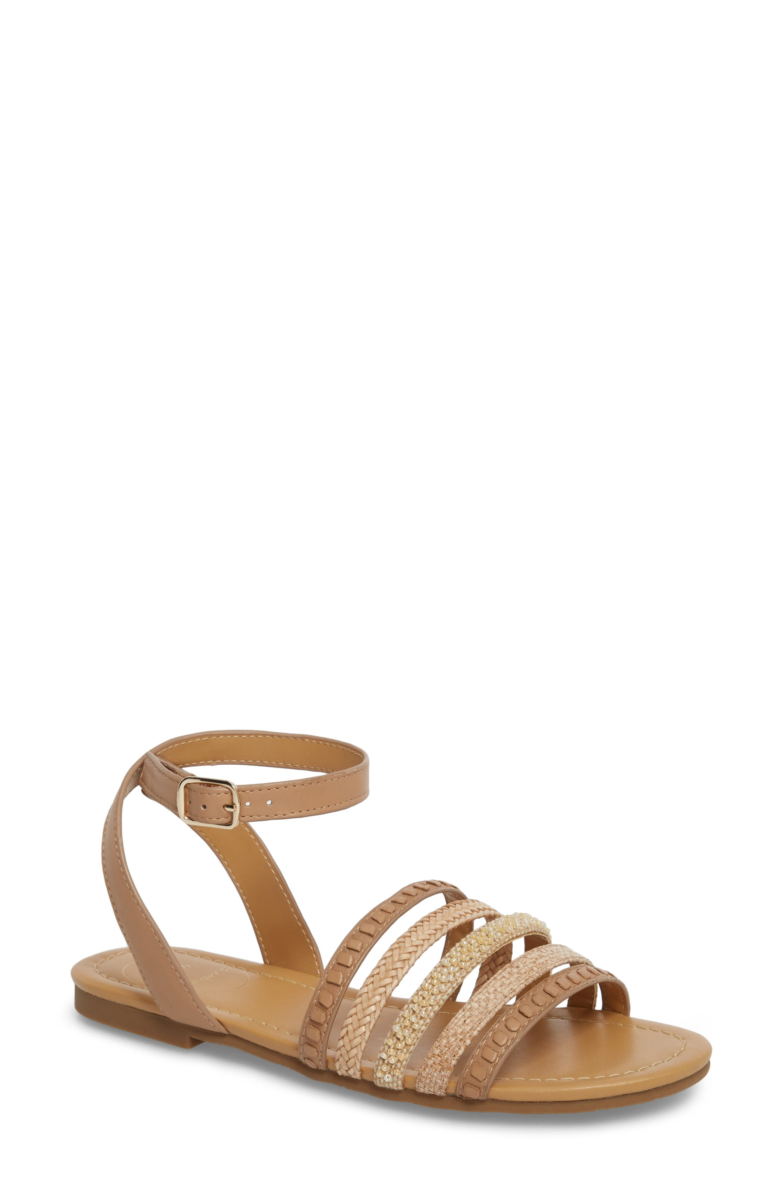 Hannah Braided Embellished Sandal,                         Main,                         color, BUFF LEATHER