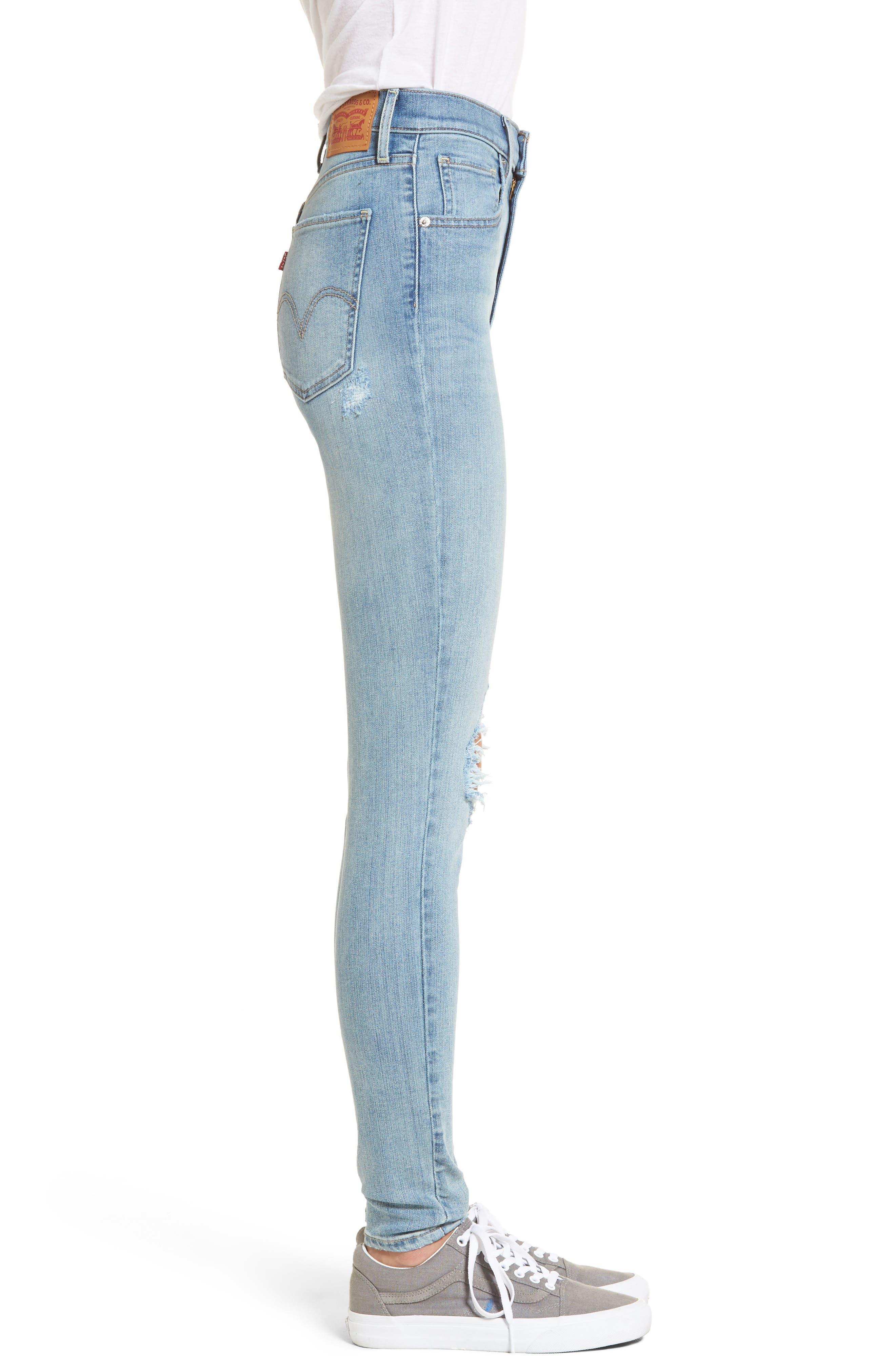 Mile High Super Skinny Jeans,                             Alternate thumbnail 3, color,                             450