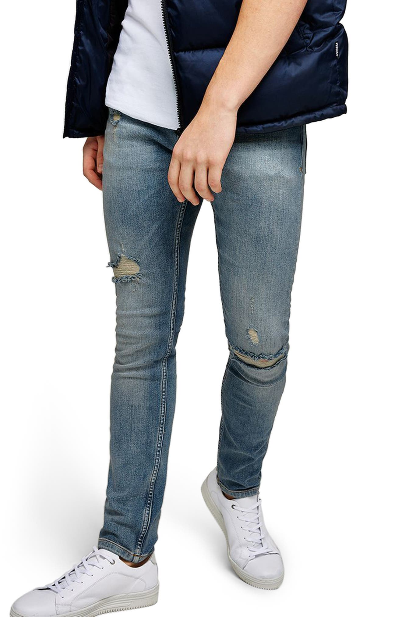 Ripped Stretch Skinny Fit Jeans,                             Main thumbnail 1, color,                             BLUE