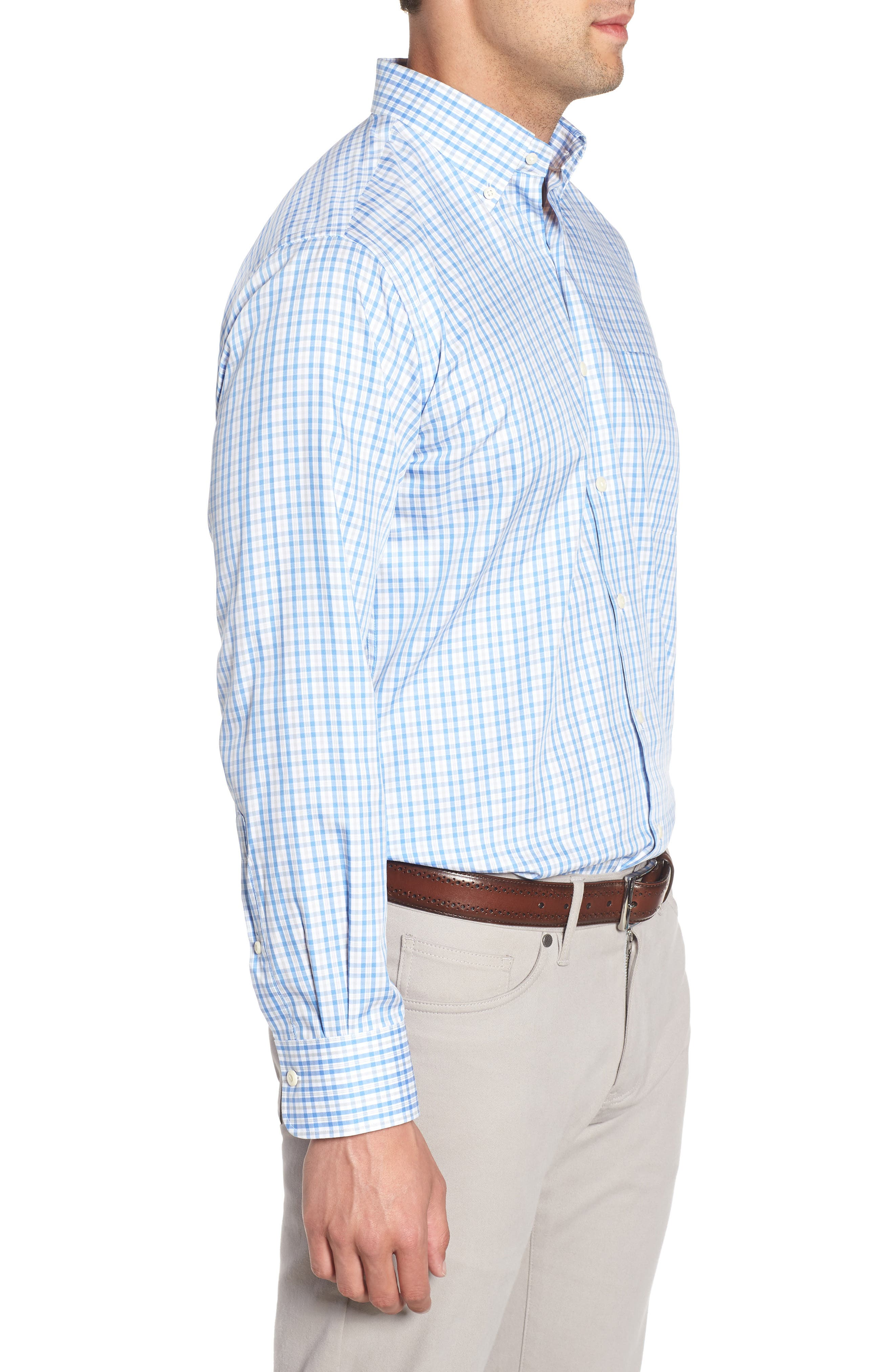 PETER MILLAR,                             Crown Soft First Hill Plaid Sport Shirt,                             Alternate thumbnail 3, color,                             485