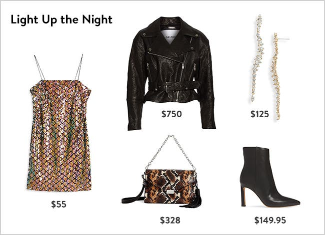 Light up the night: women's night-out clothing, shoes and accessories.
