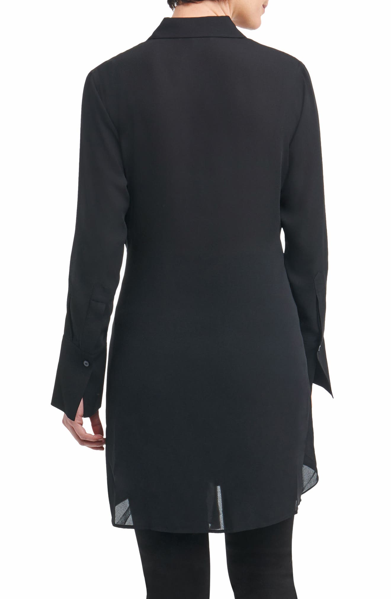 Serena in Solid Crepe Tie-Waist Tunic Shirt,                             Alternate thumbnail 2, color,                             001