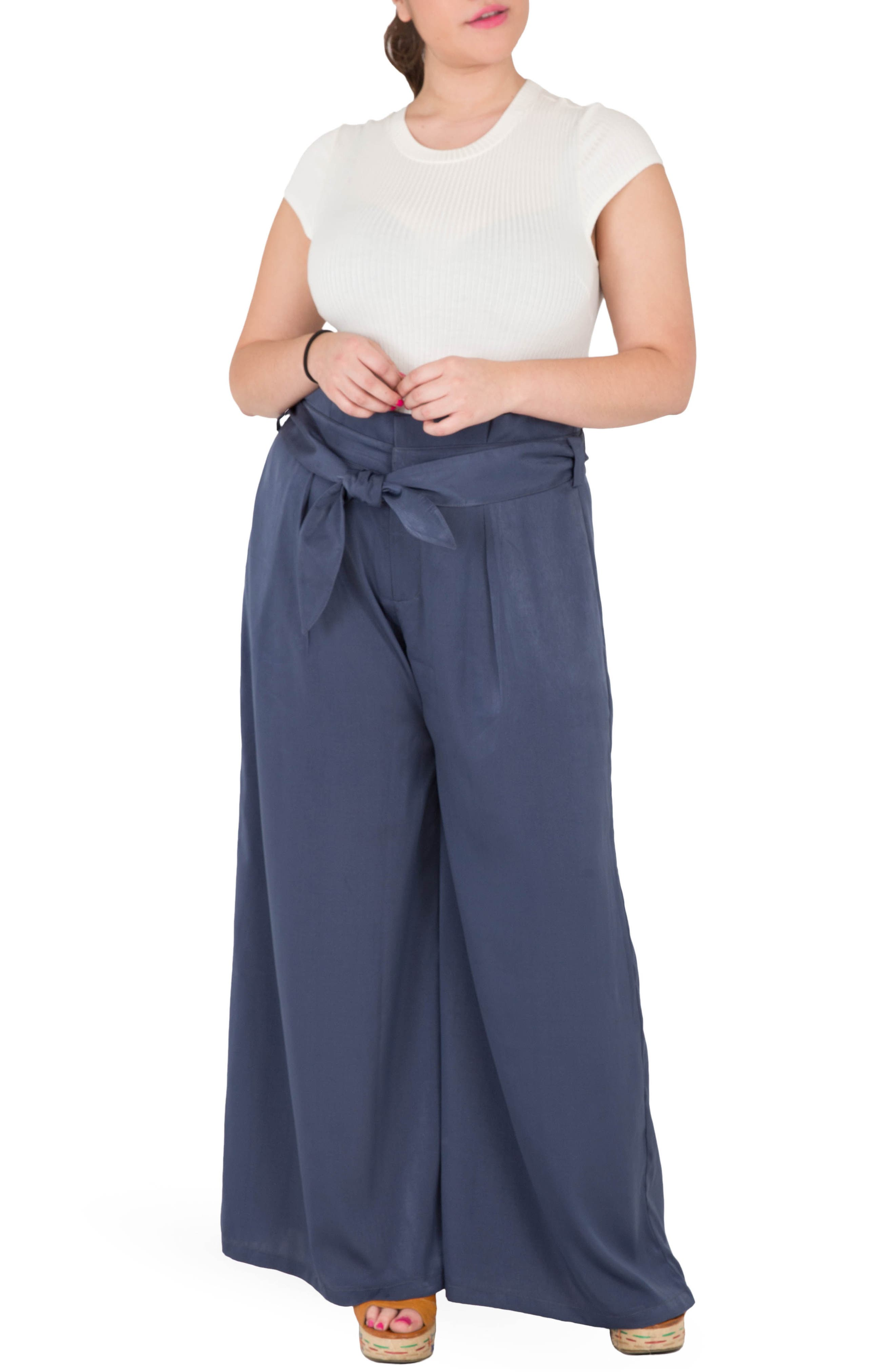 Sue Wide Leg Pants,                             Alternate thumbnail 4, color,                             NAVY