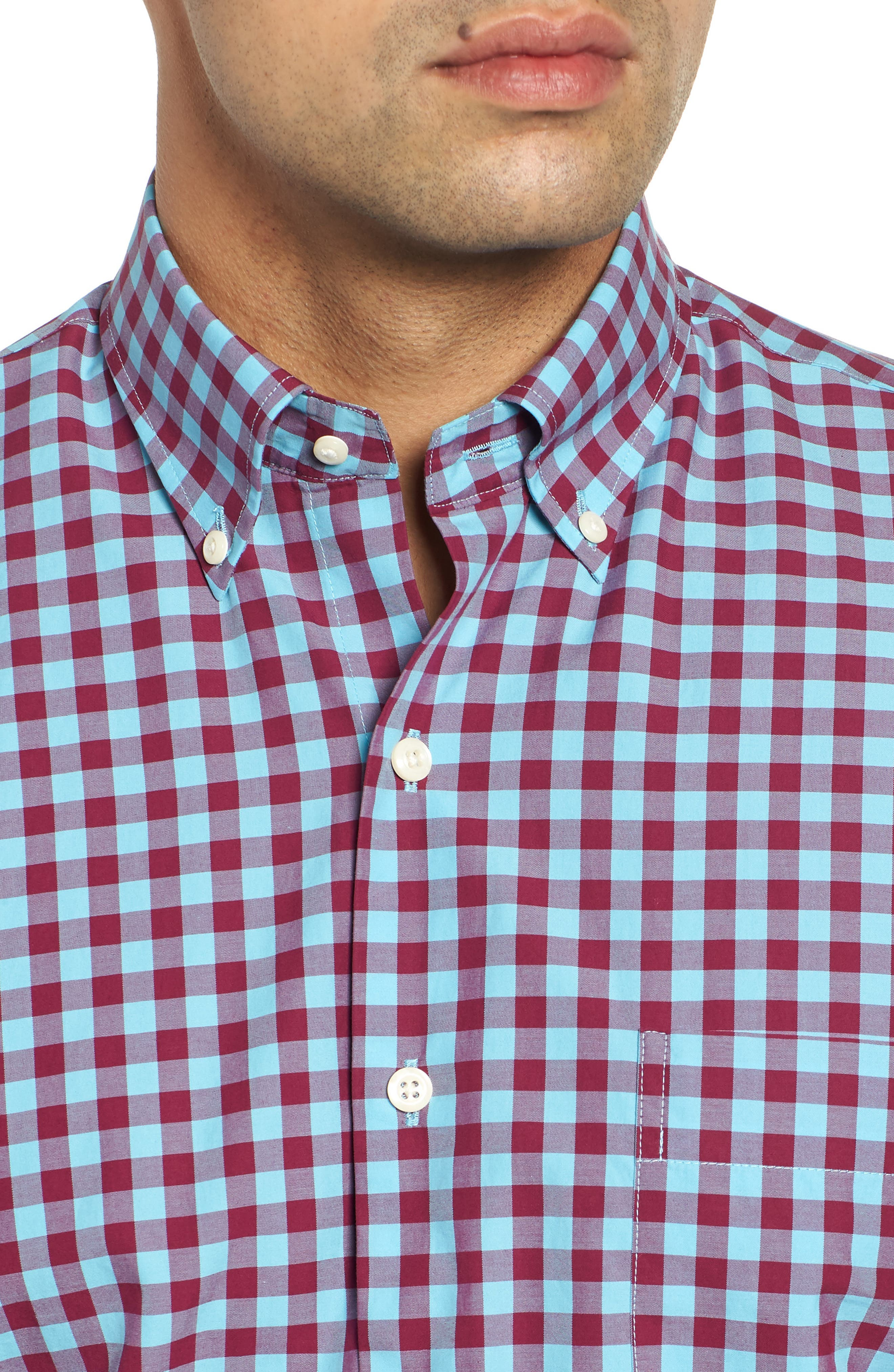 Mont Blanc Gingham Check Sport Shirt,                             Alternate thumbnail 2, color,                             GROTTO BLUE