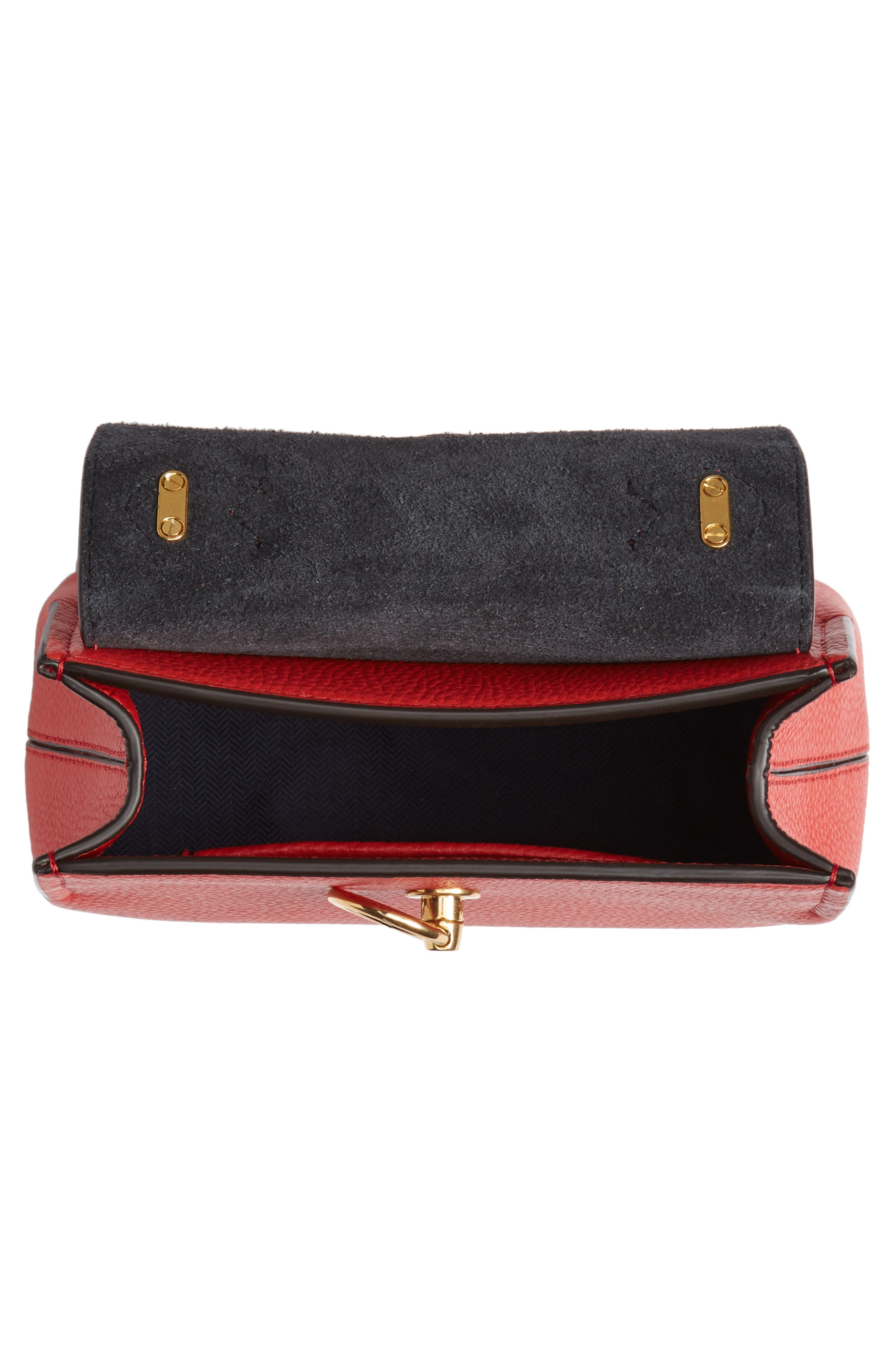 MULBERRY,                             Micro Seaton Leather Convertible Crossbody Bag,                             Alternate thumbnail 4, color,                             HIBISCUS RED