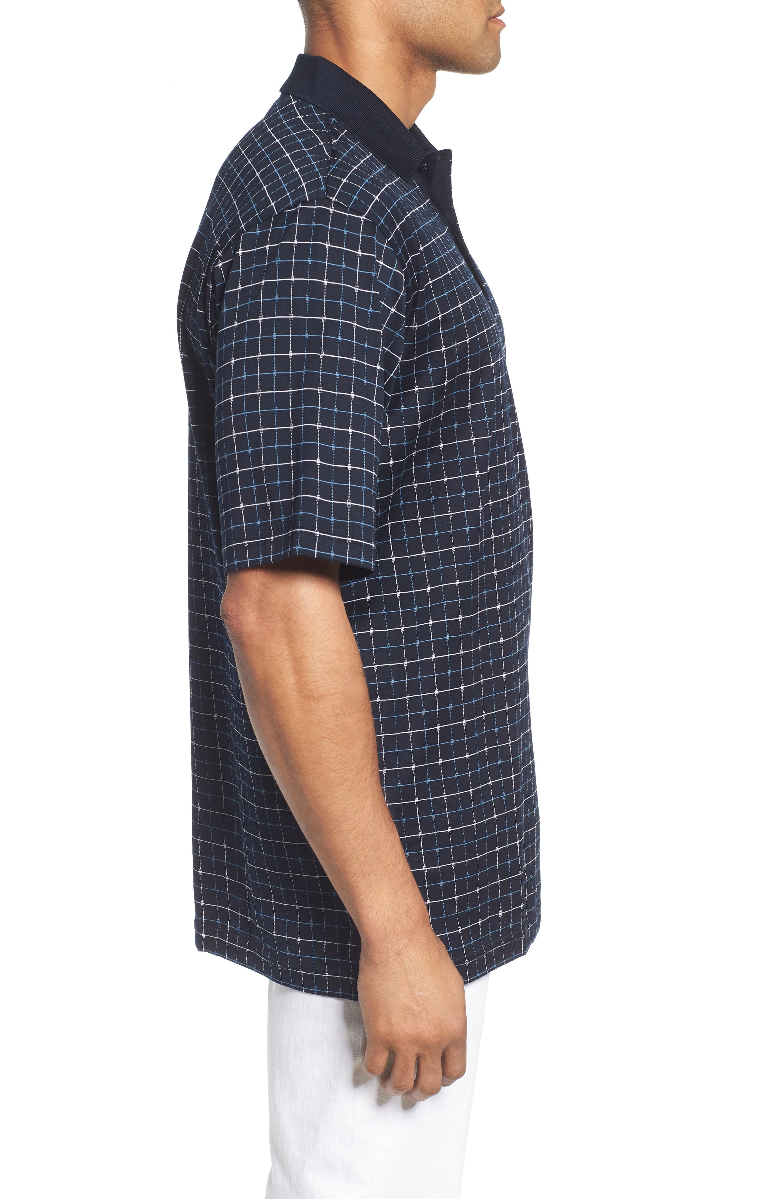 Grid Mercerized Cotton Polo,                             Alternate thumbnail 3, color,                             410