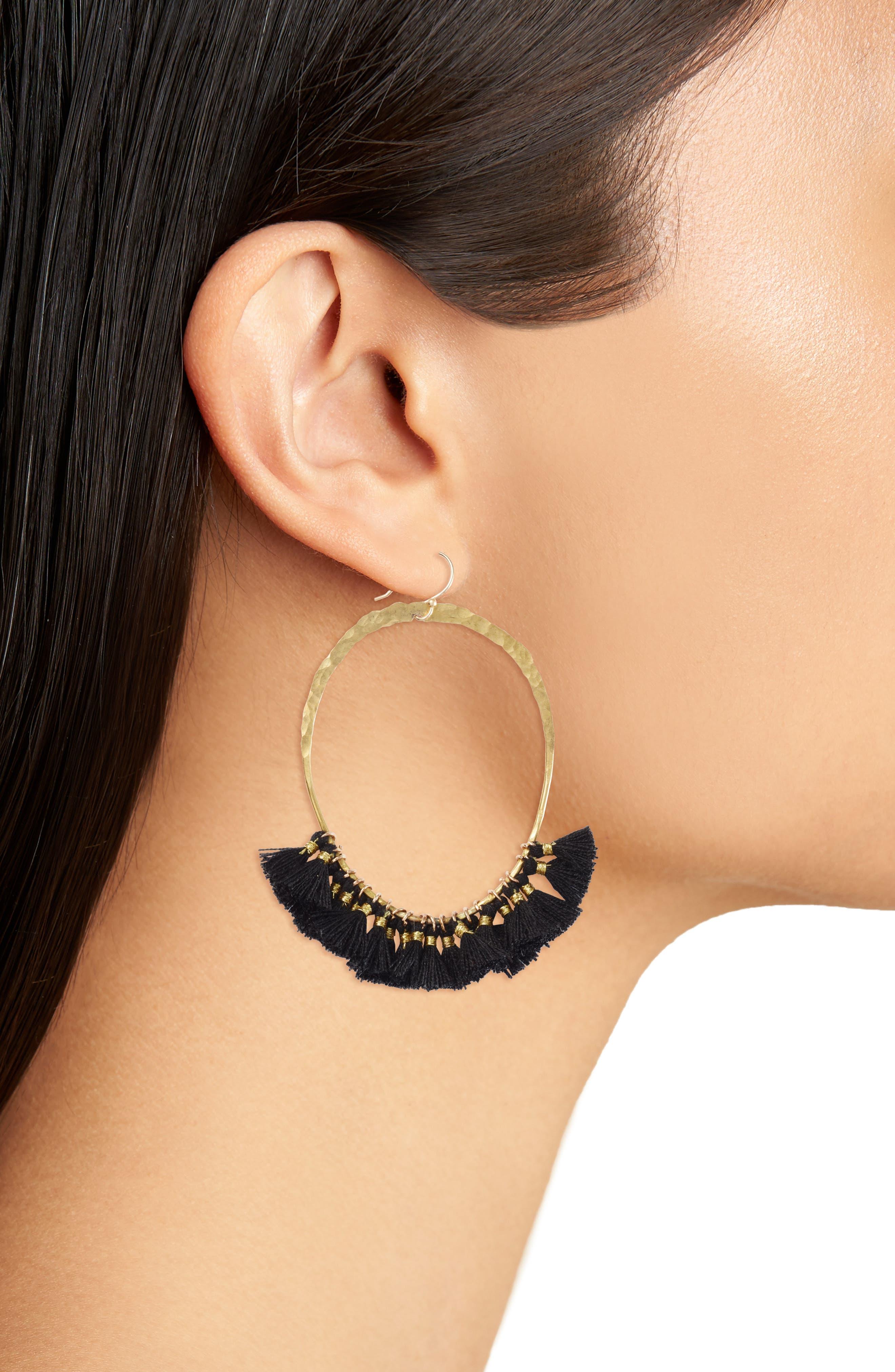 Tassel Hoop Earrings,                             Alternate thumbnail 2, color,                             GOLD/ BLACK