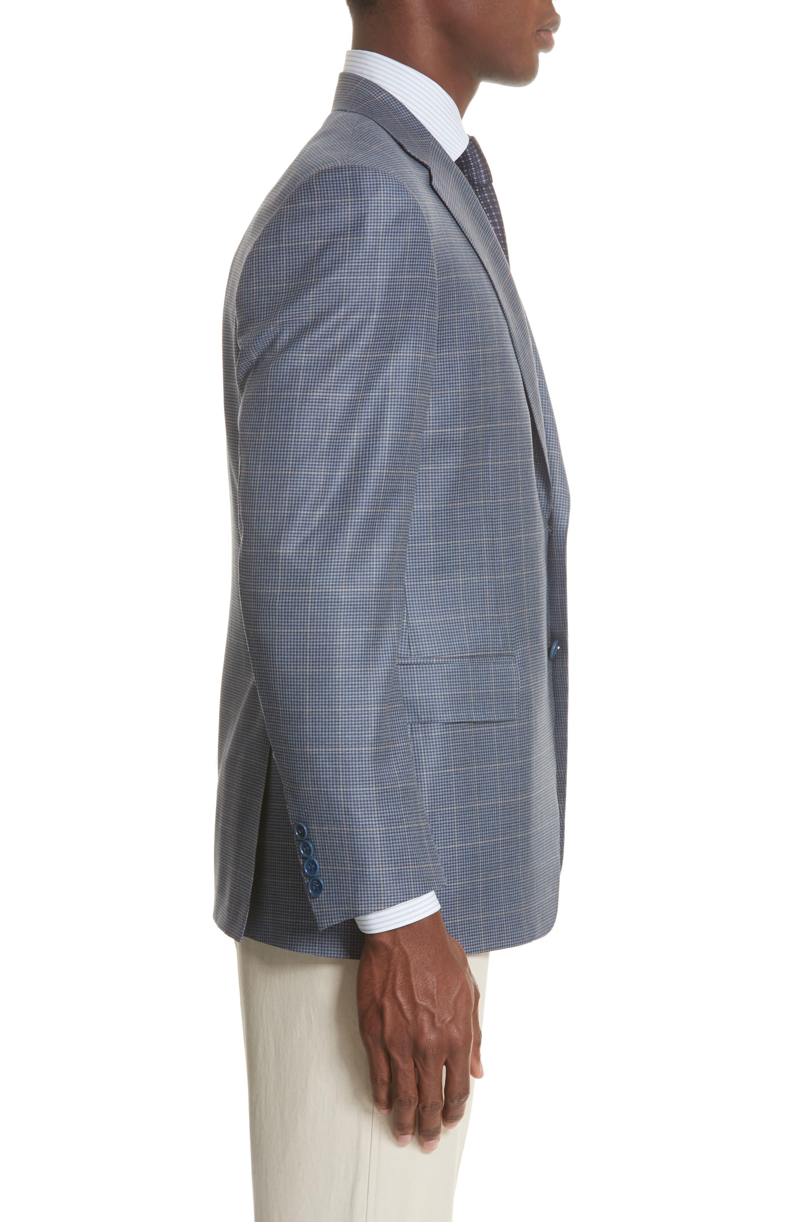 Classic Fit Windowpane Wool Sport Coat,                             Alternate thumbnail 3, color,                             400