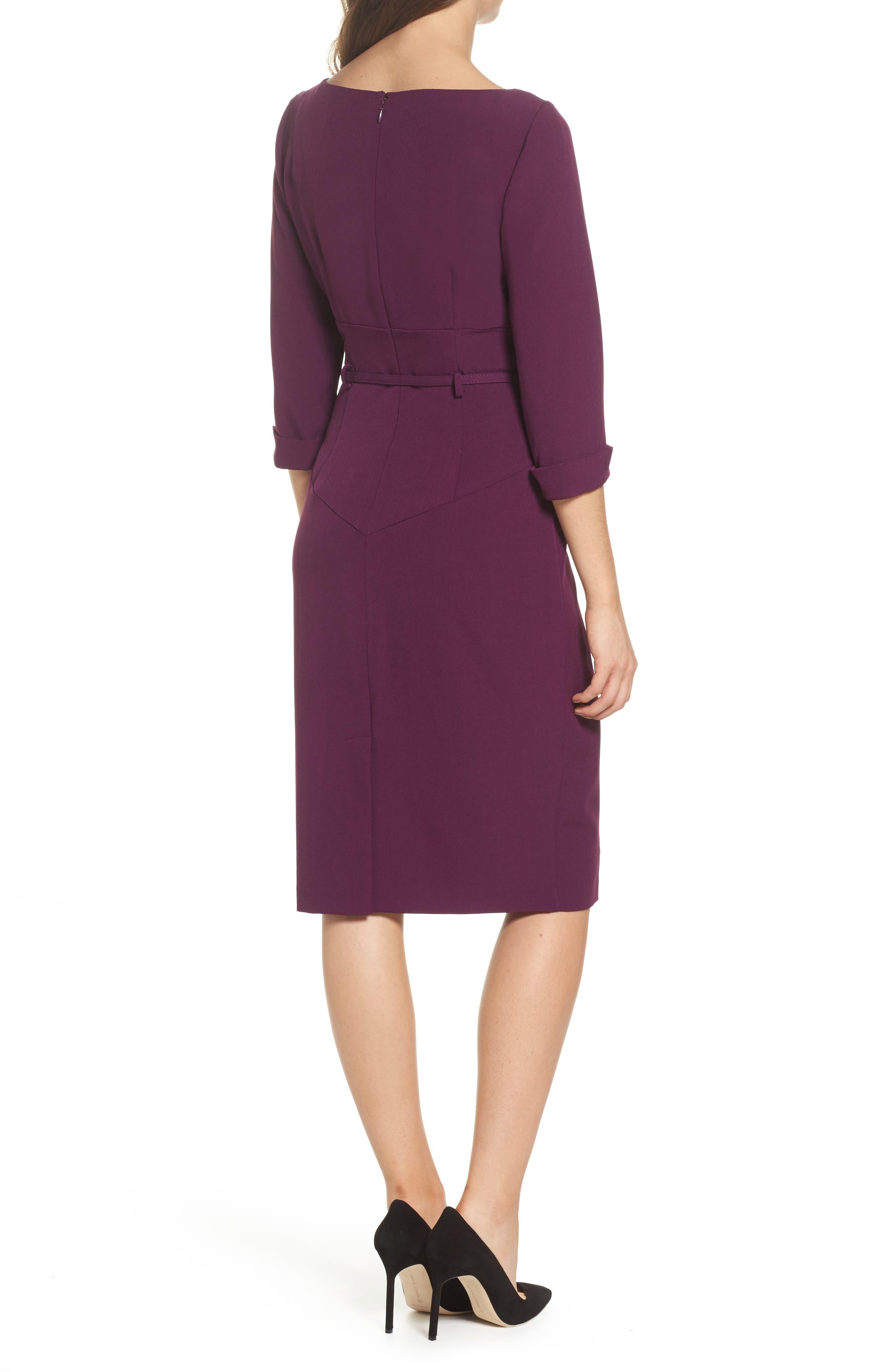 Belted Crepe Sheath Dress,                             Alternate thumbnail 2, color,                             606