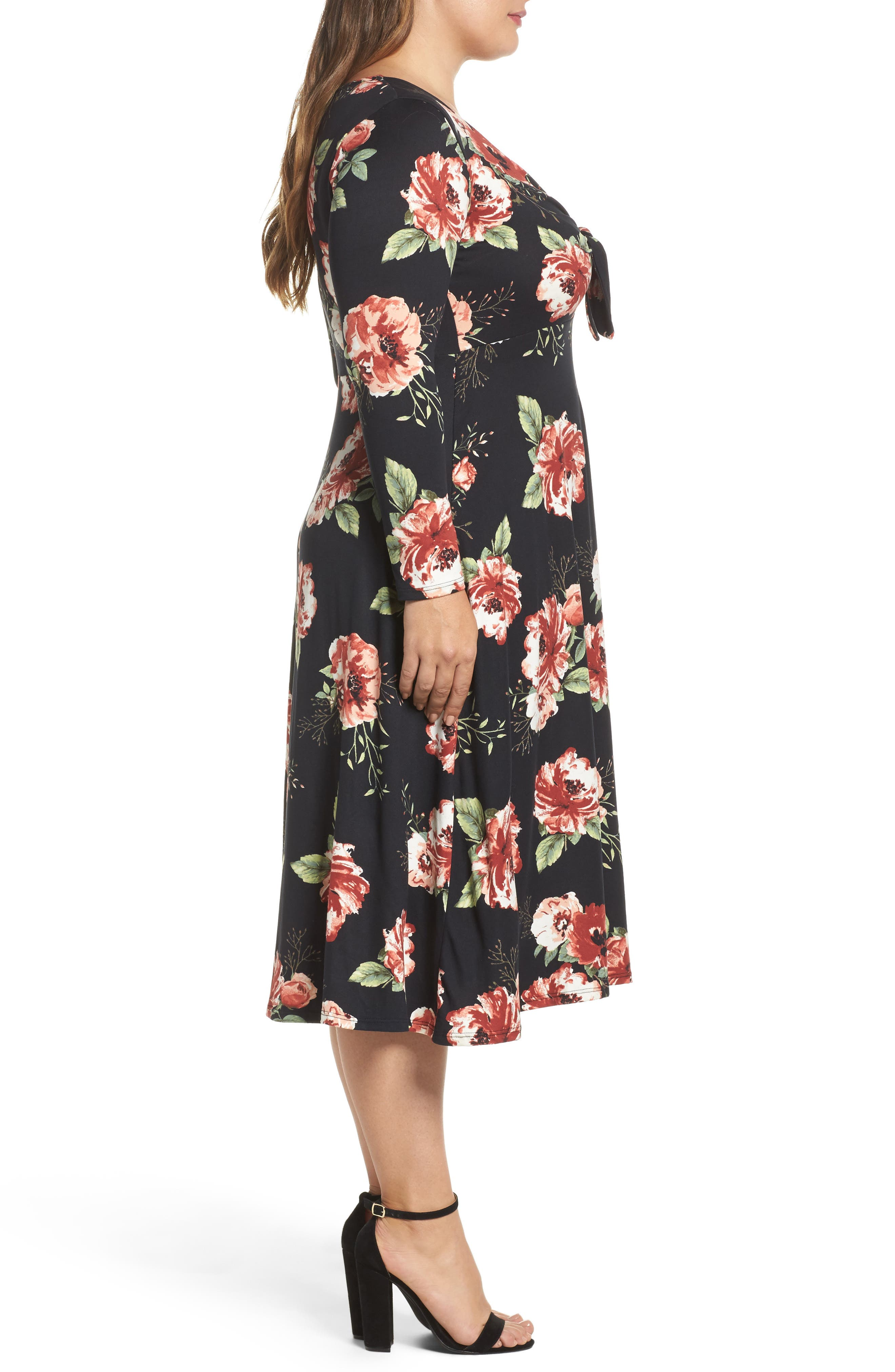 Plunging Floral Midi Dress,                             Alternate thumbnail 3, color,                             001