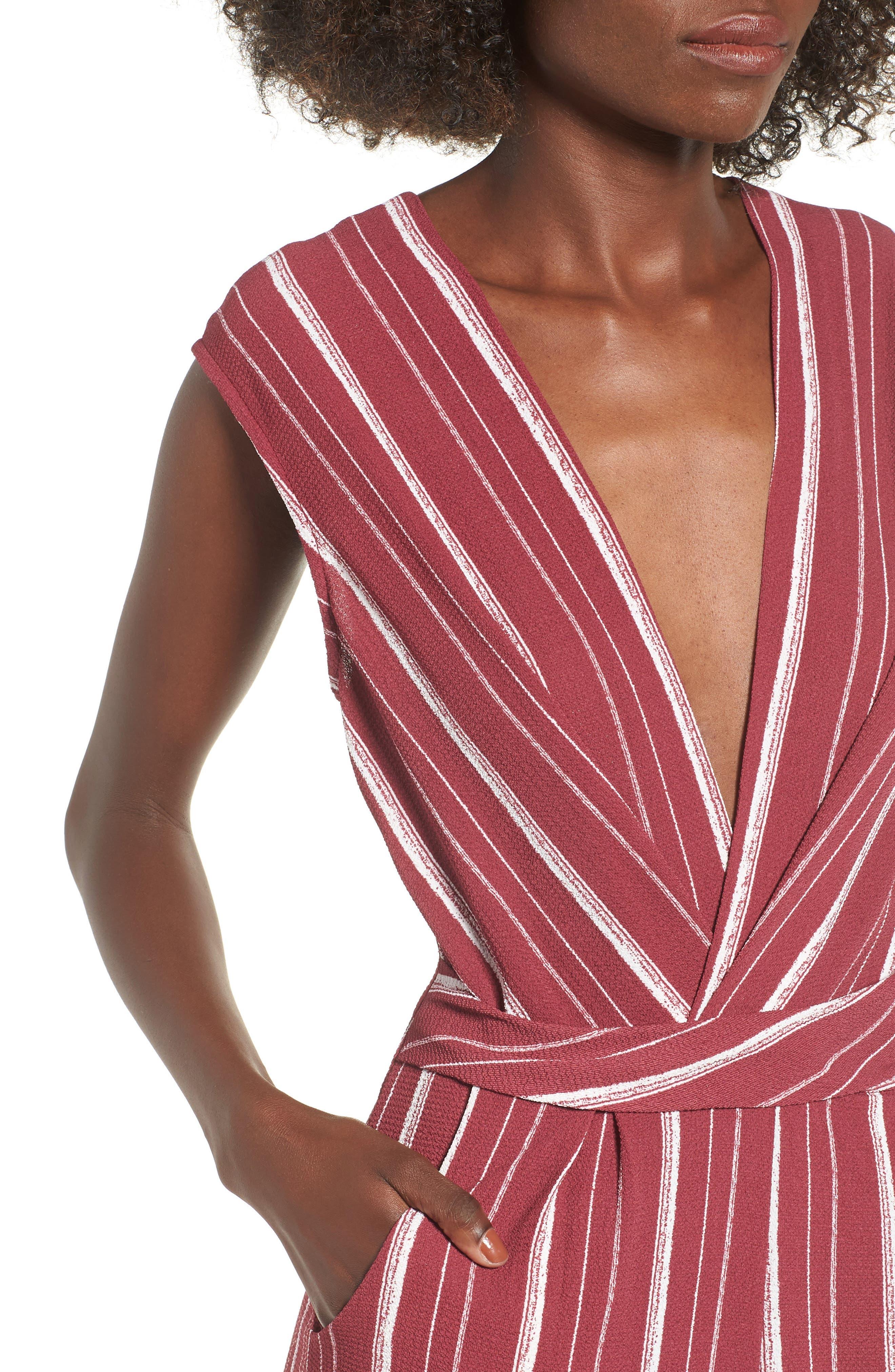 Stripe Jumpsuit,                             Alternate thumbnail 4, color,                             WINE