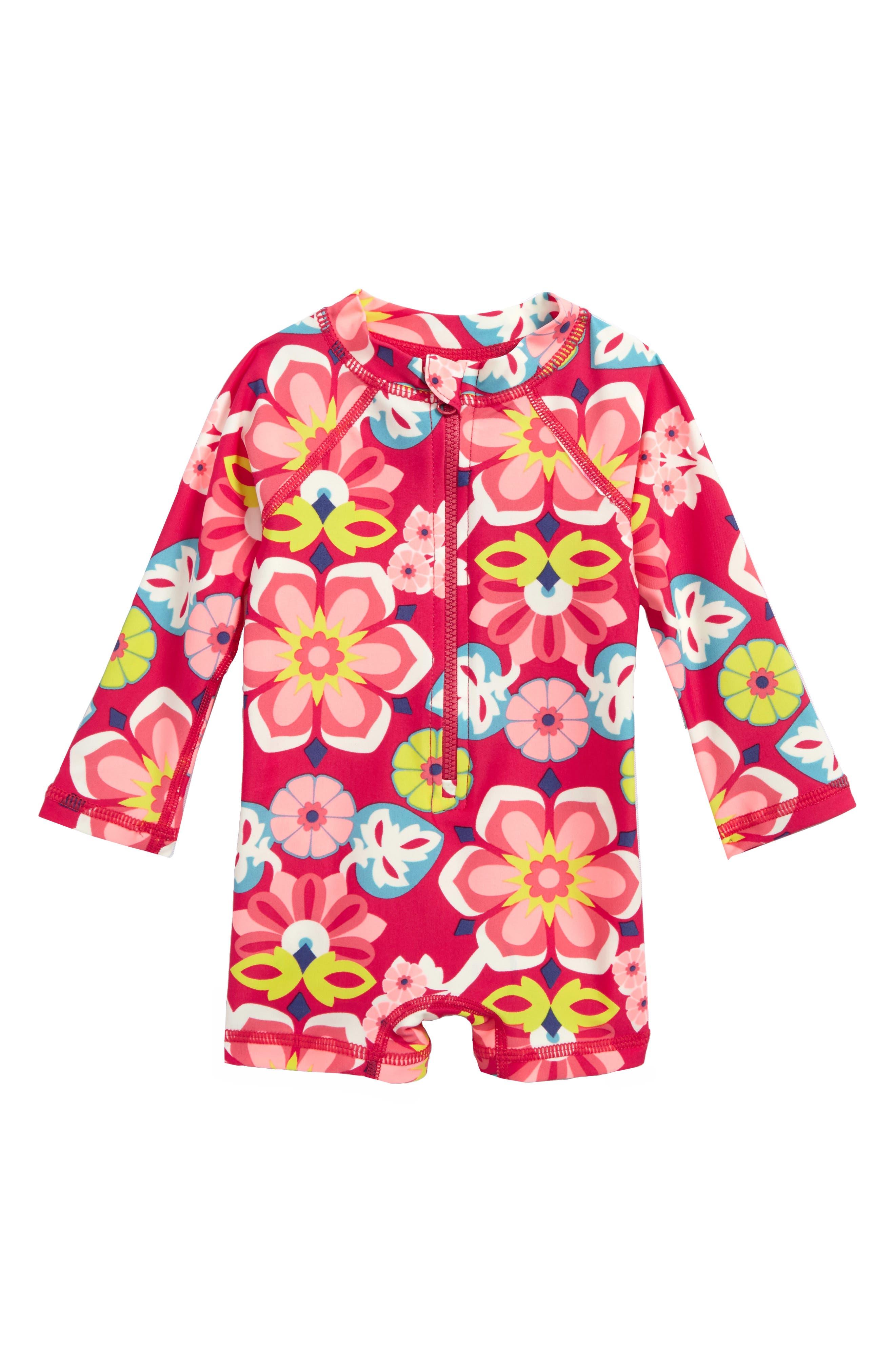 Flora One-Piece Rashguard Swimsuit,                         Main,                         color, 698