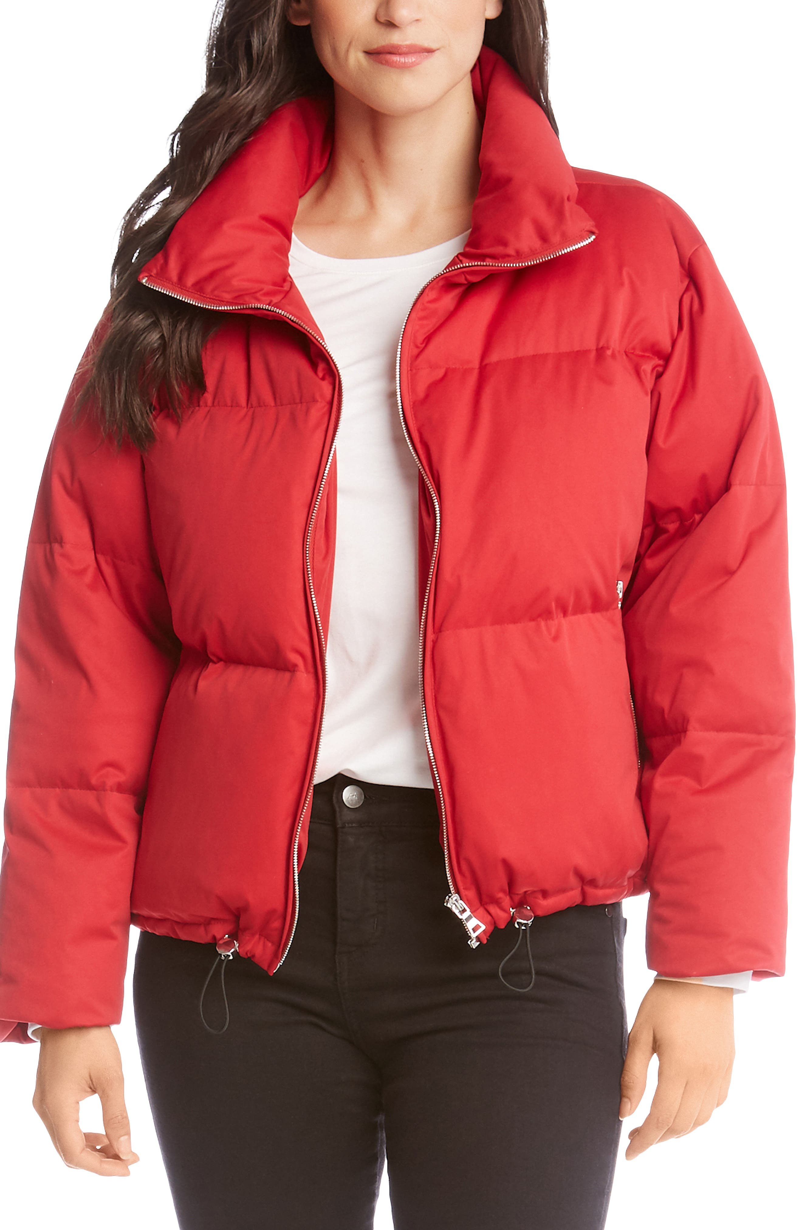 Zip-Front Puffer Jacket in Red
