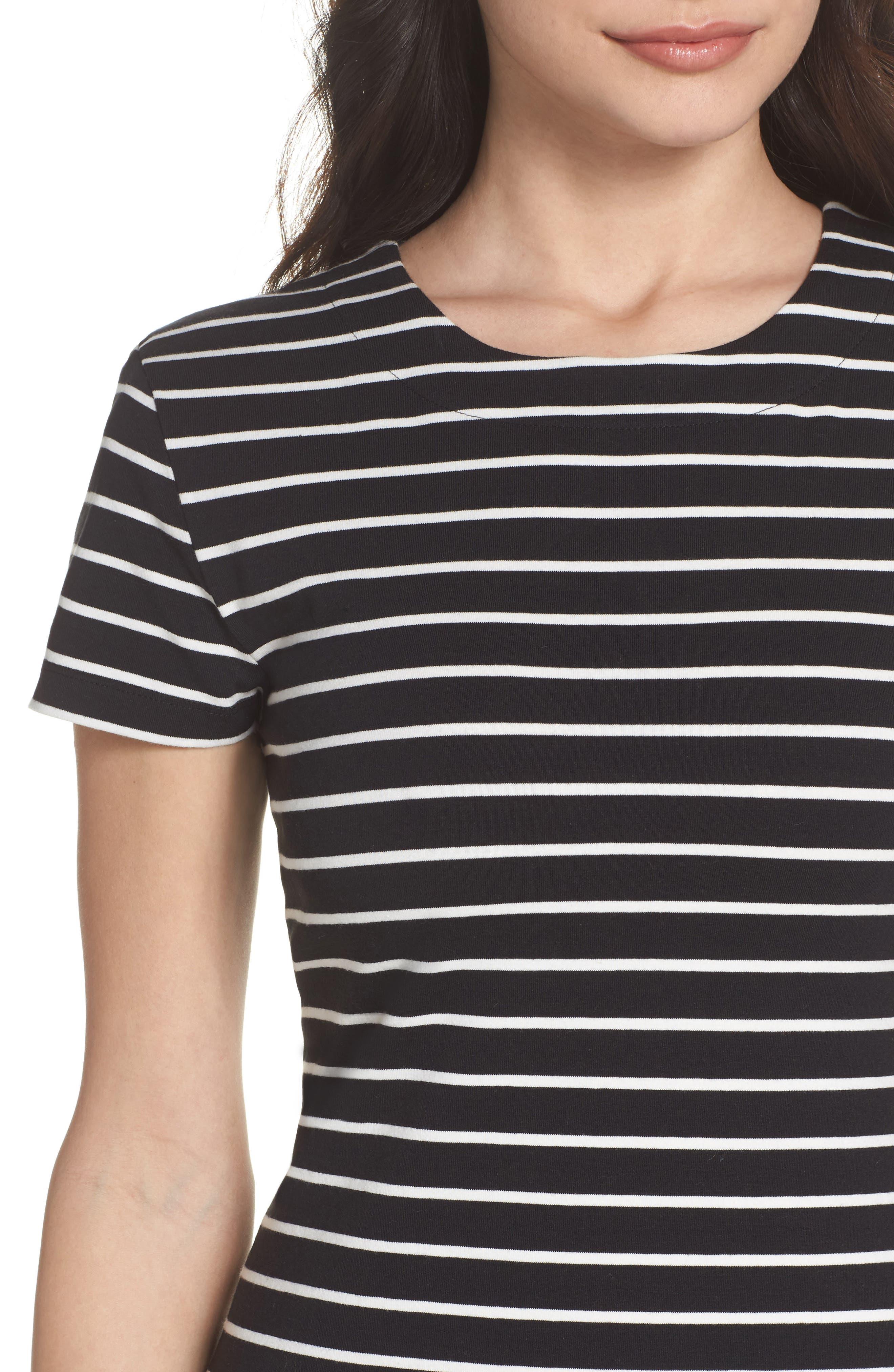 Knit Stripe Body-Con Dress,                             Alternate thumbnail 4, color,                             006