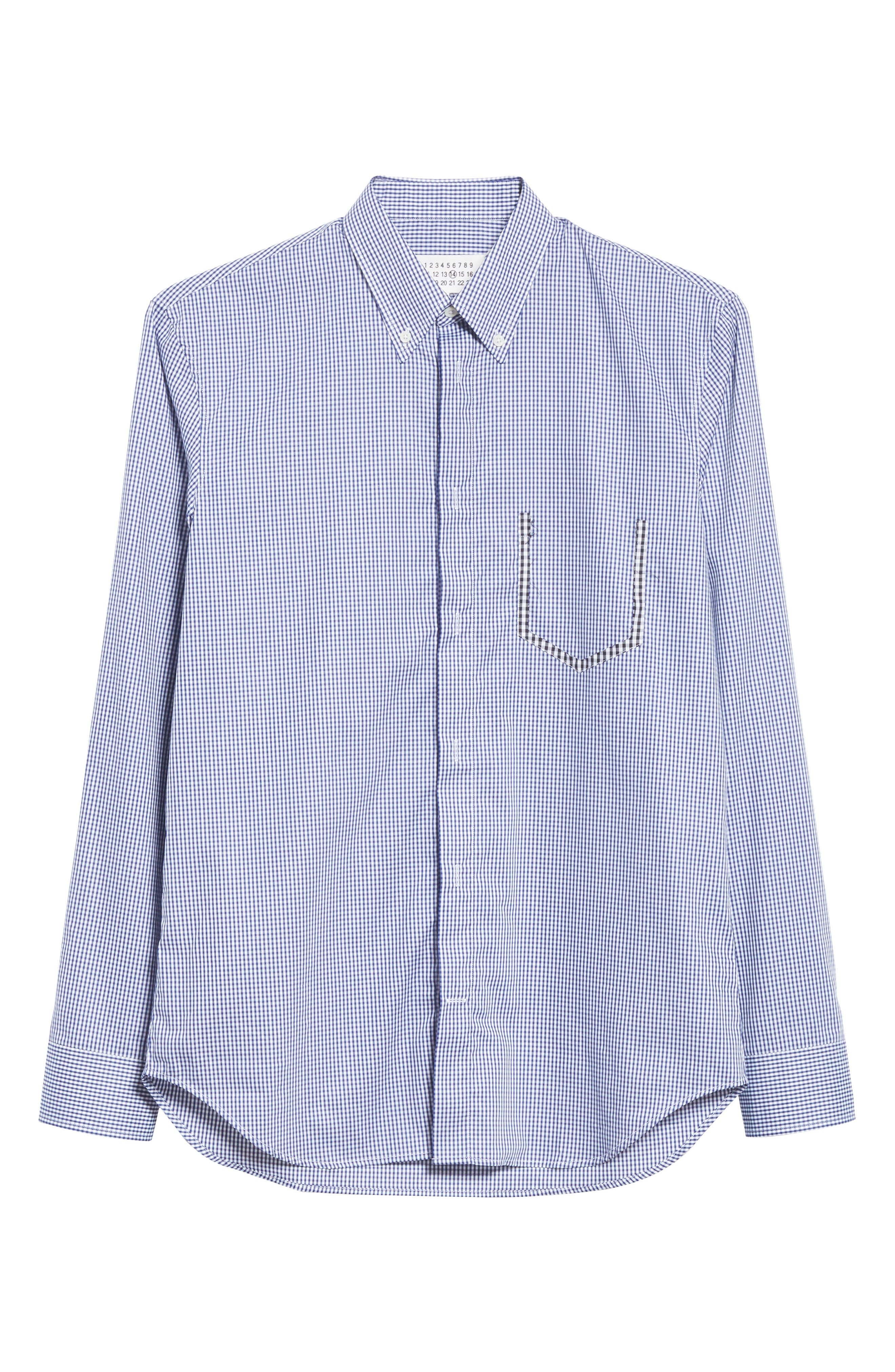 Gingham Woven Sport Shirt,                             Alternate thumbnail 6, color,                             BLUE