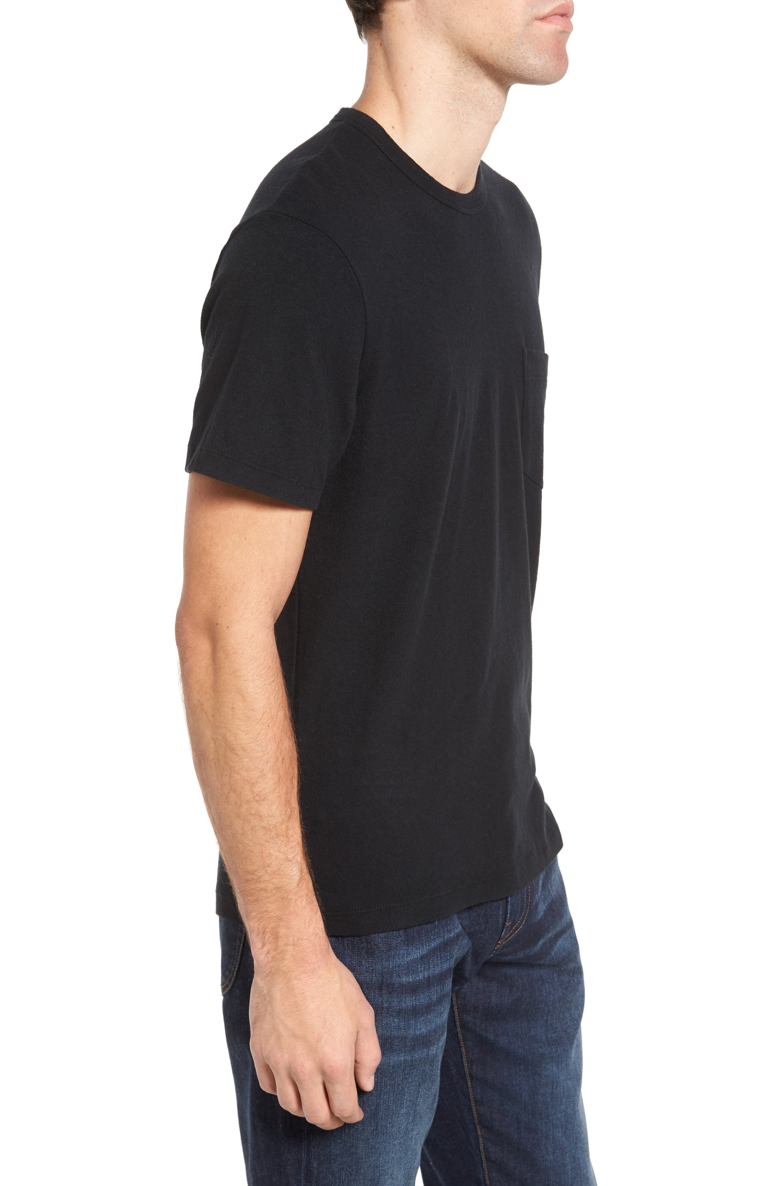 Sueded Jersey Pocket T-Shirt,                             Alternate thumbnail 3, color,                             001