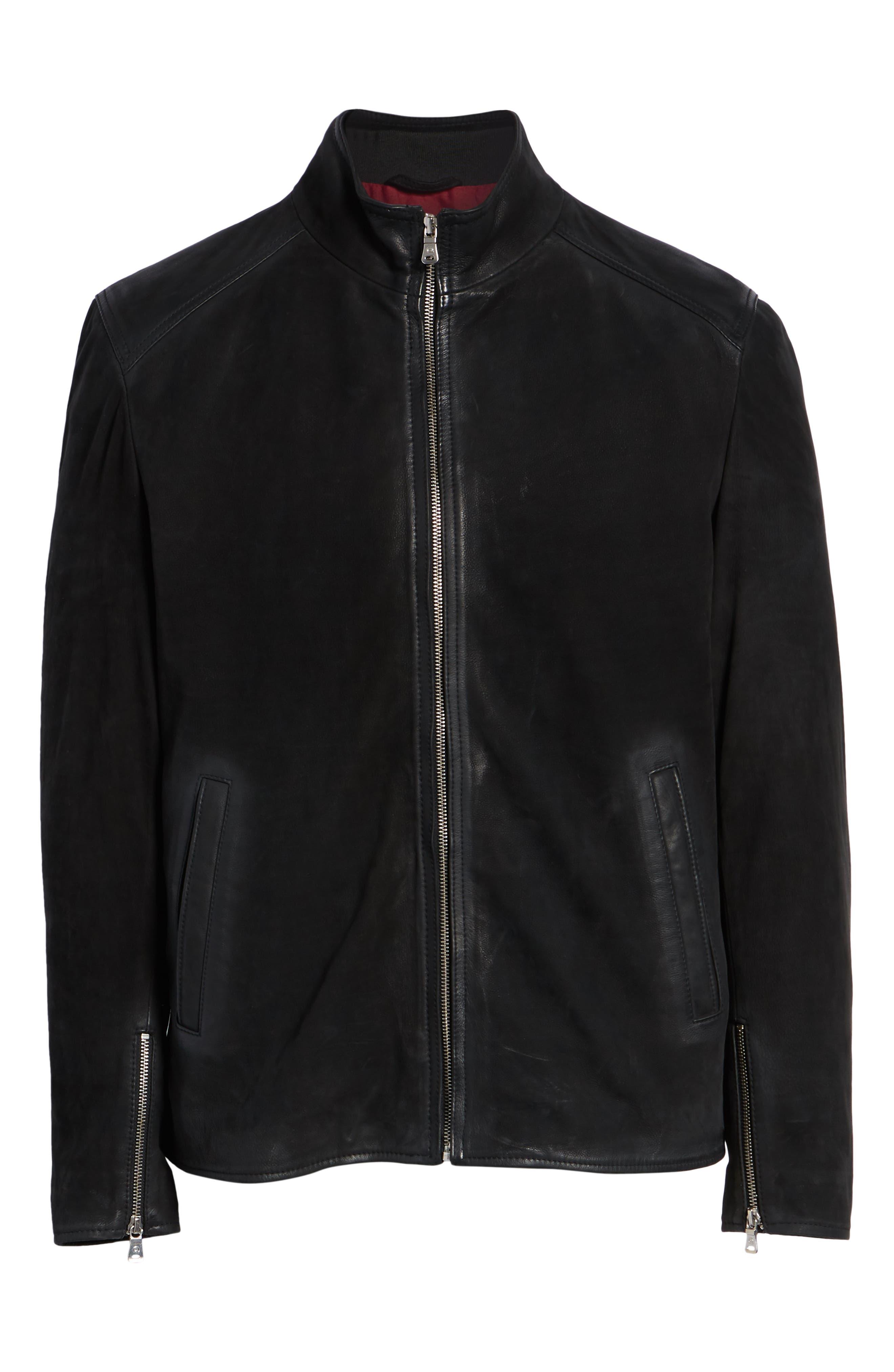 Regular Fit Leather Moto Jacket,                             Alternate thumbnail 5, color,                             BLACK